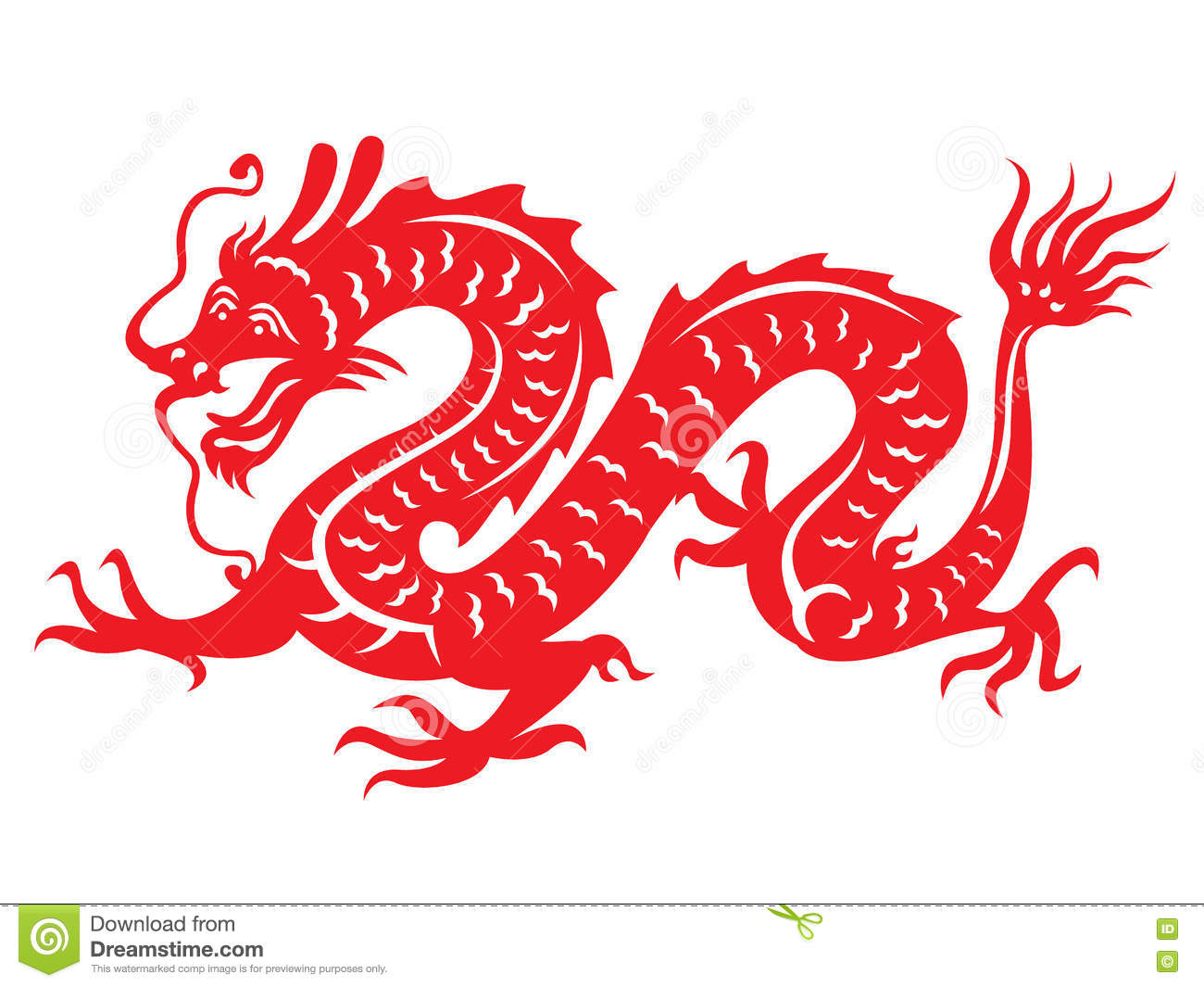 Red Paper Cut Out Of A Dragon China Zodiac Symbols Stock