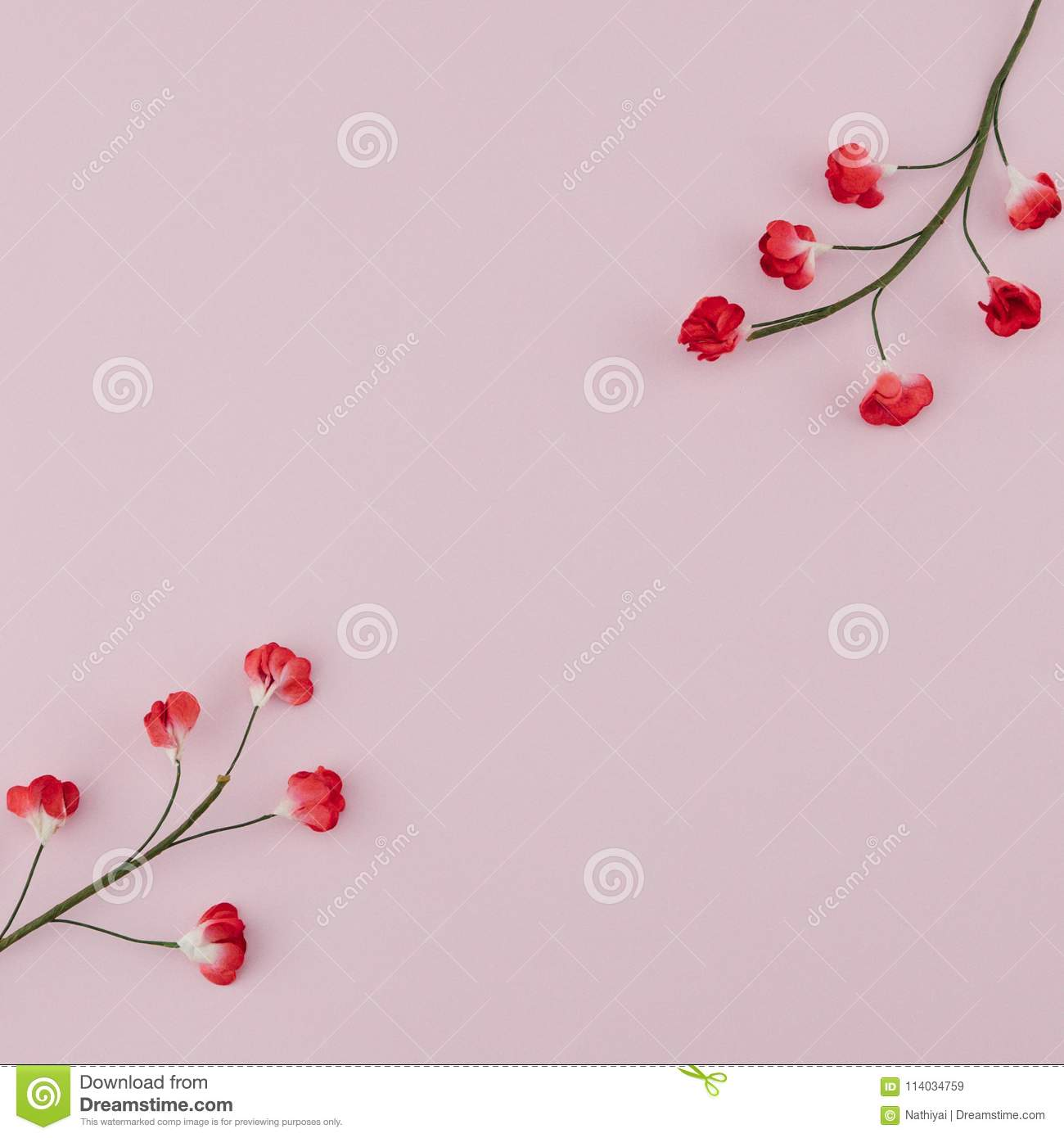 Red Paper Flowers With Branch On Pink Background Stock Image Image