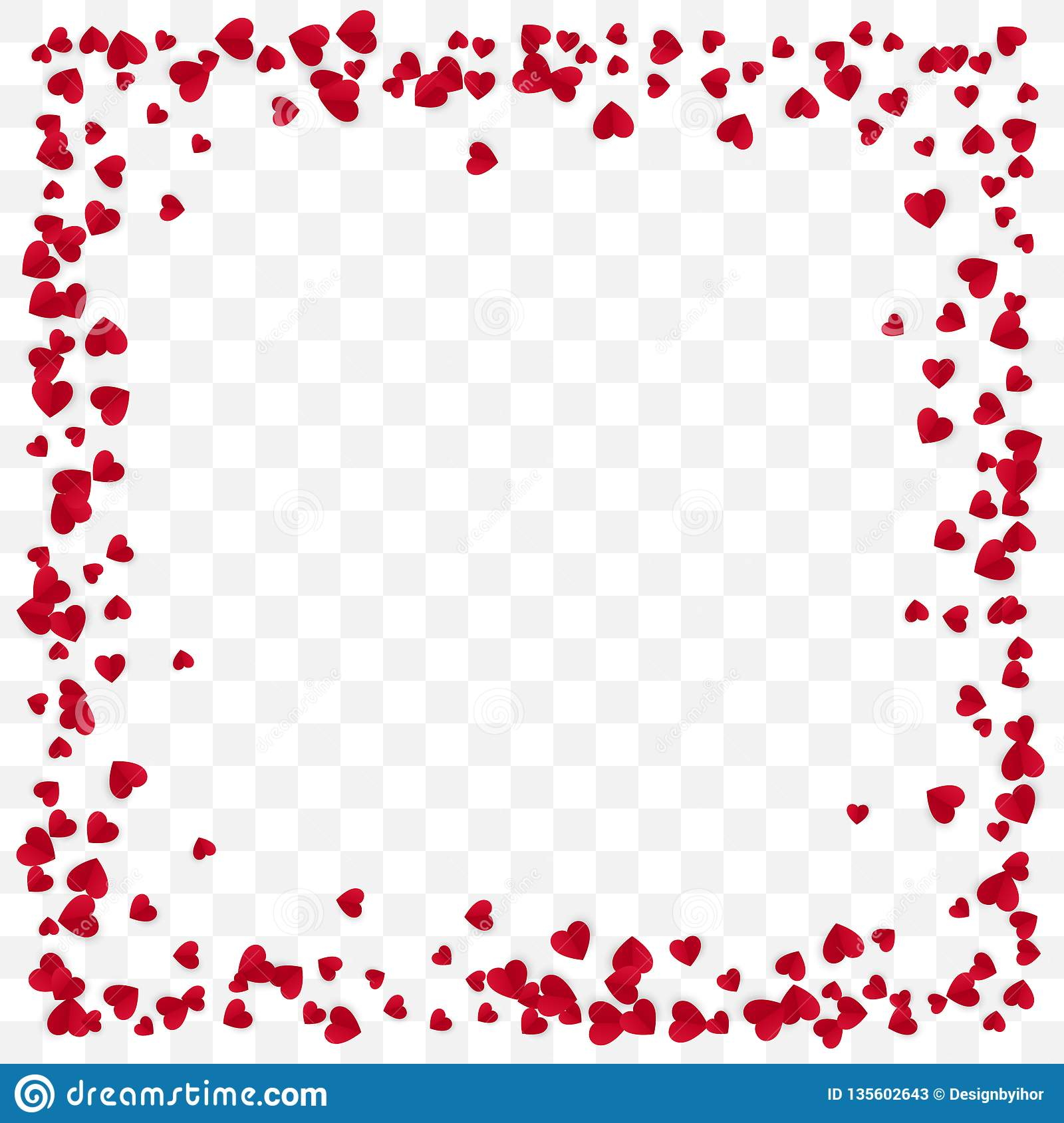 Red Paper Heart Frame Background. Valentine`s Day romantic background. Heart Frame with space for Text. Vector illustration