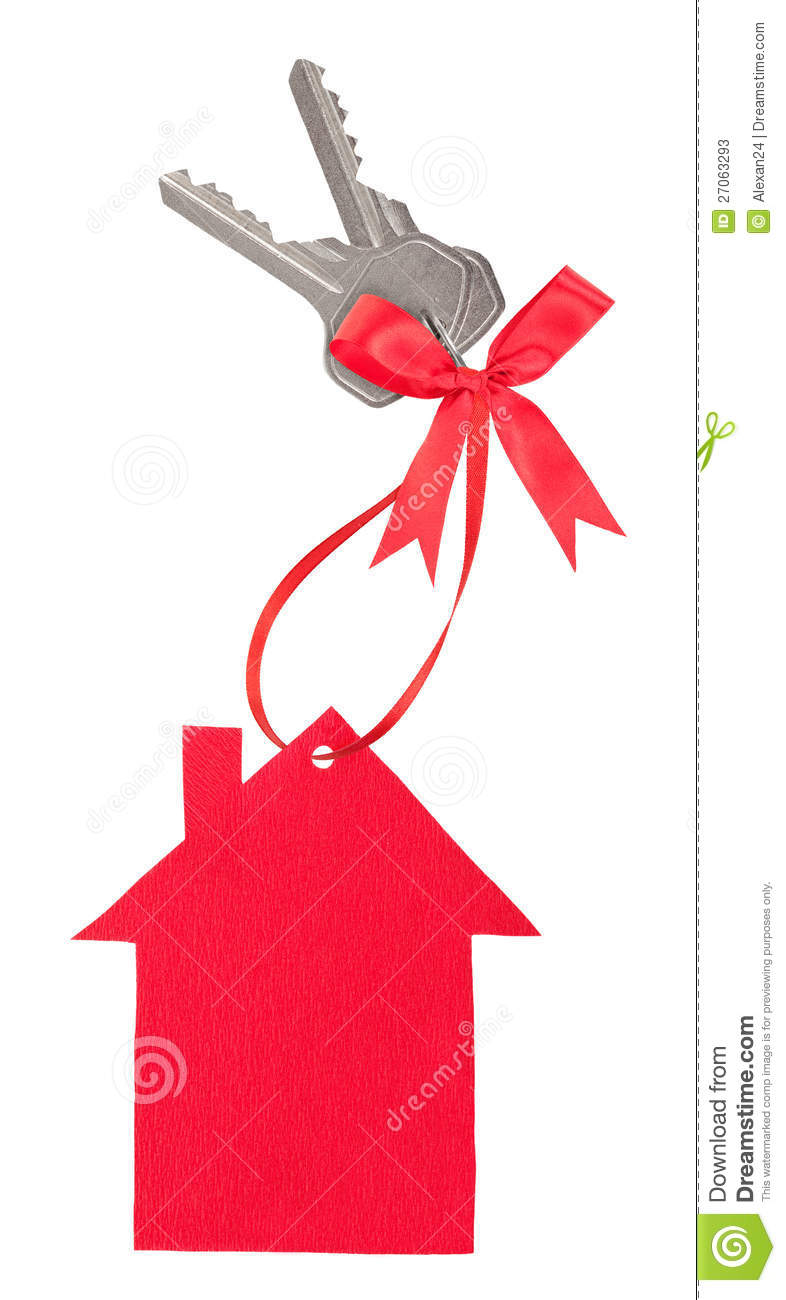 Red Paper House With Keys And A Bow Stock Photos - Image: 27063293