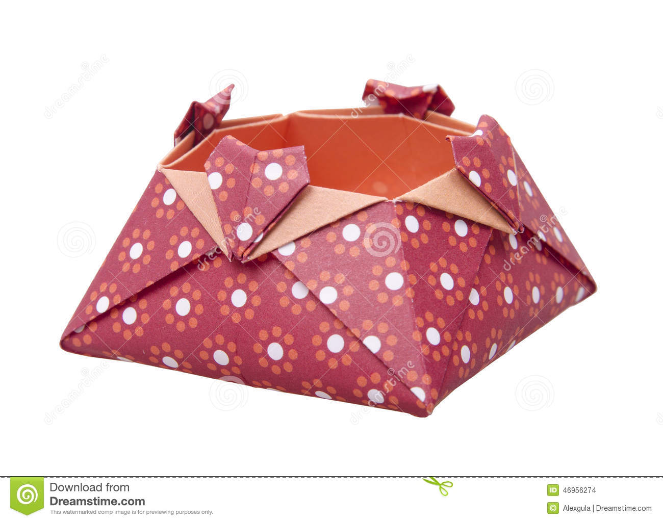 Red Paper Origami Love Box Gift Boxes Isolated Stock Photo