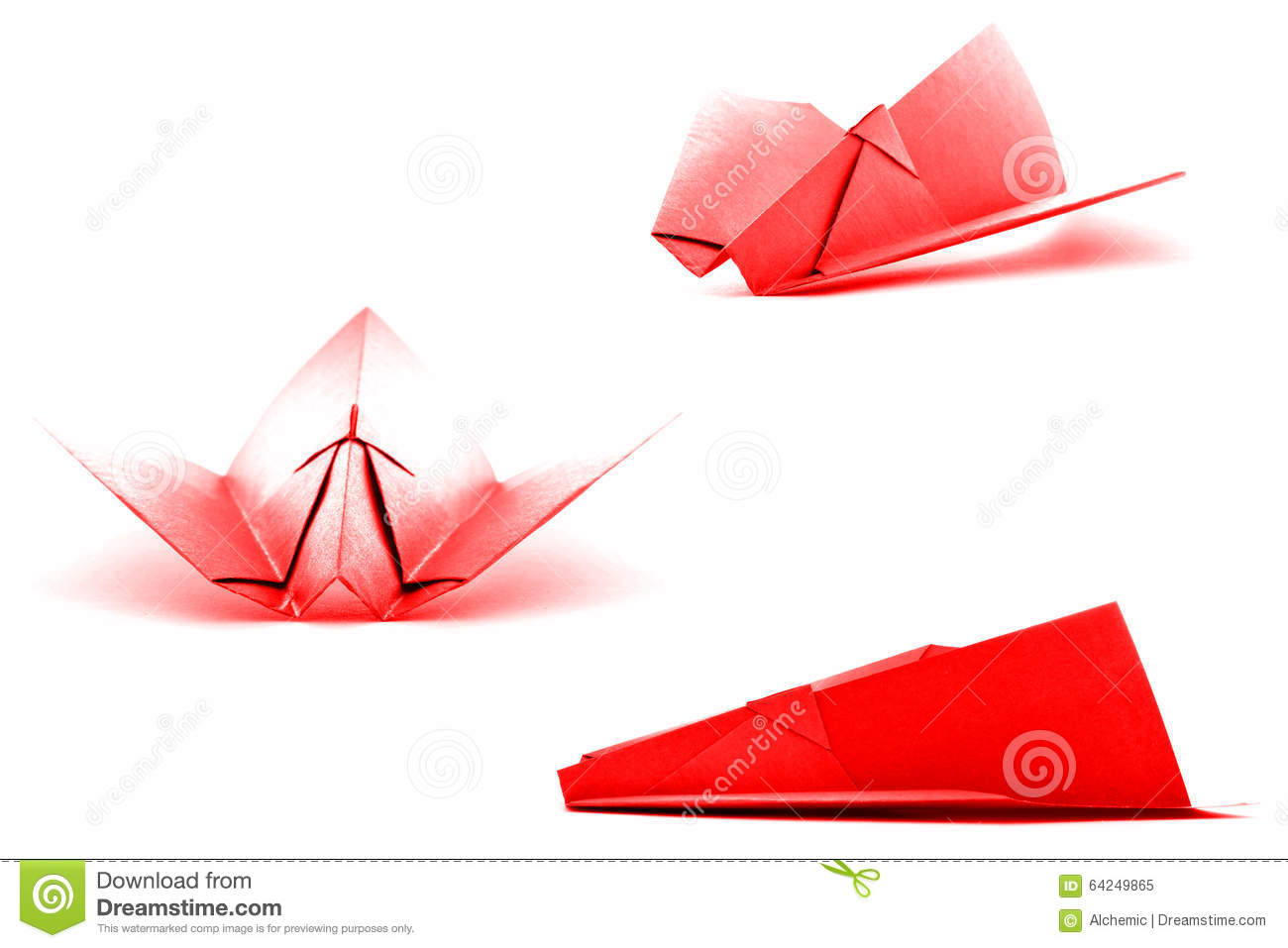 Red paper plane set, origami collection isolated on white background