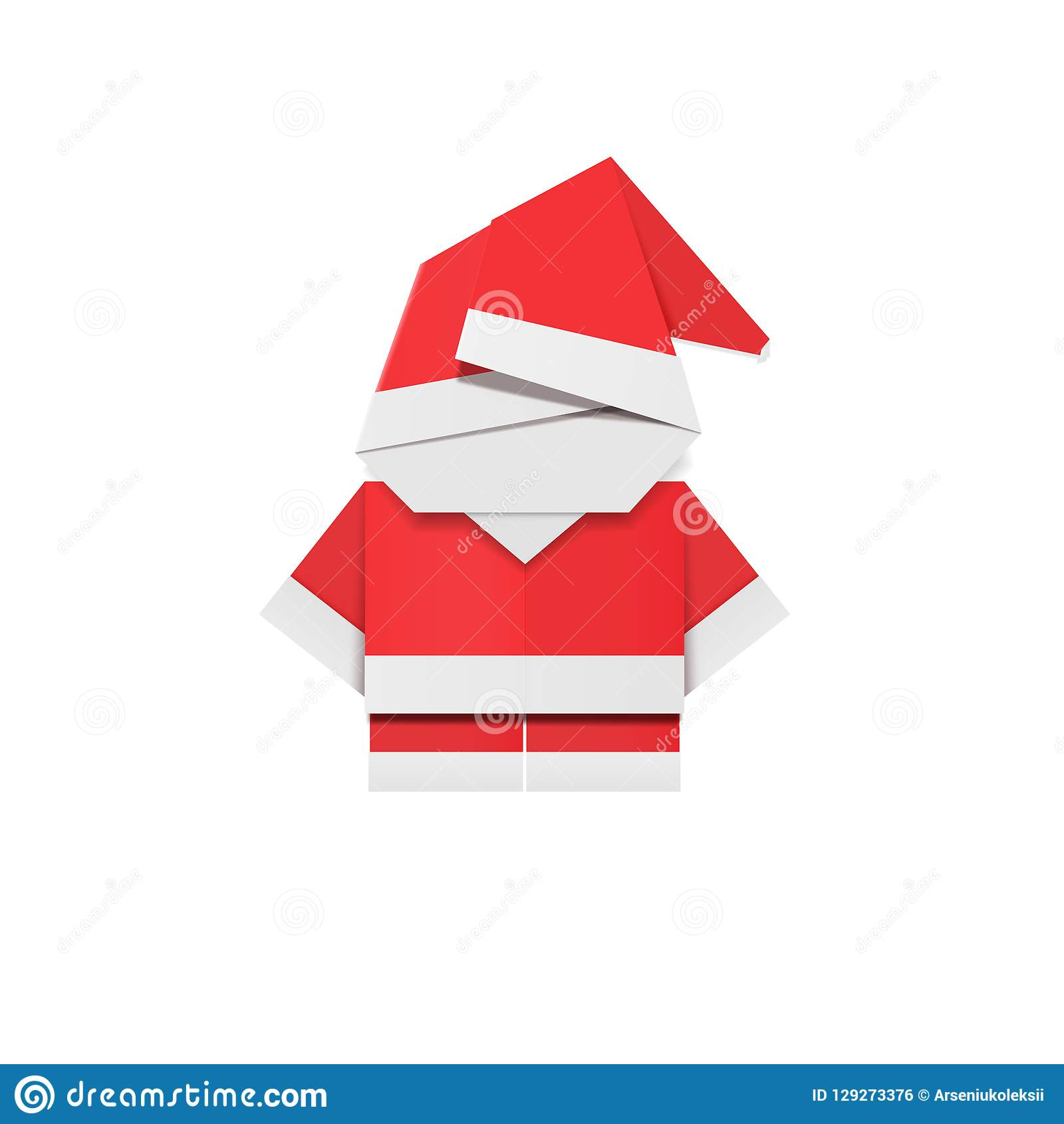 Red Paper Santa Claus Origami Father Christmas New Year Decoration