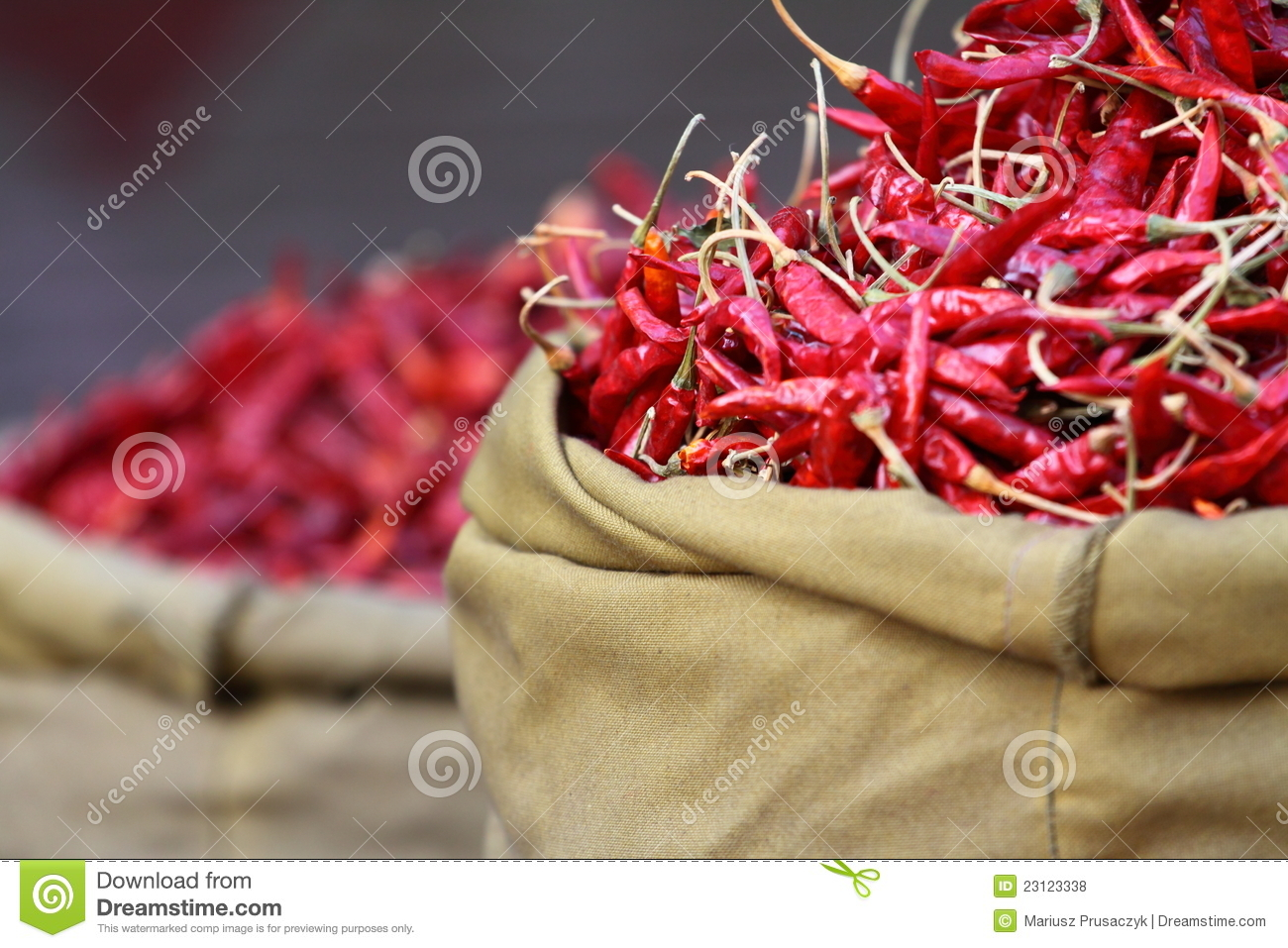 Red paprica in traditional vegetable market.