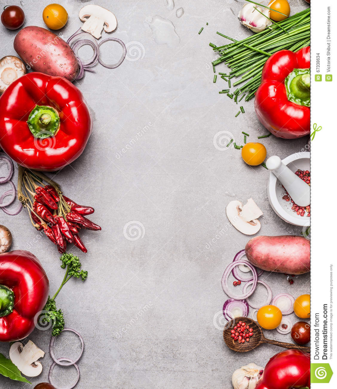 Red Paprika And Diverse Vegetables And Cooking Ingredients On Gray Stone Background, Top View ...