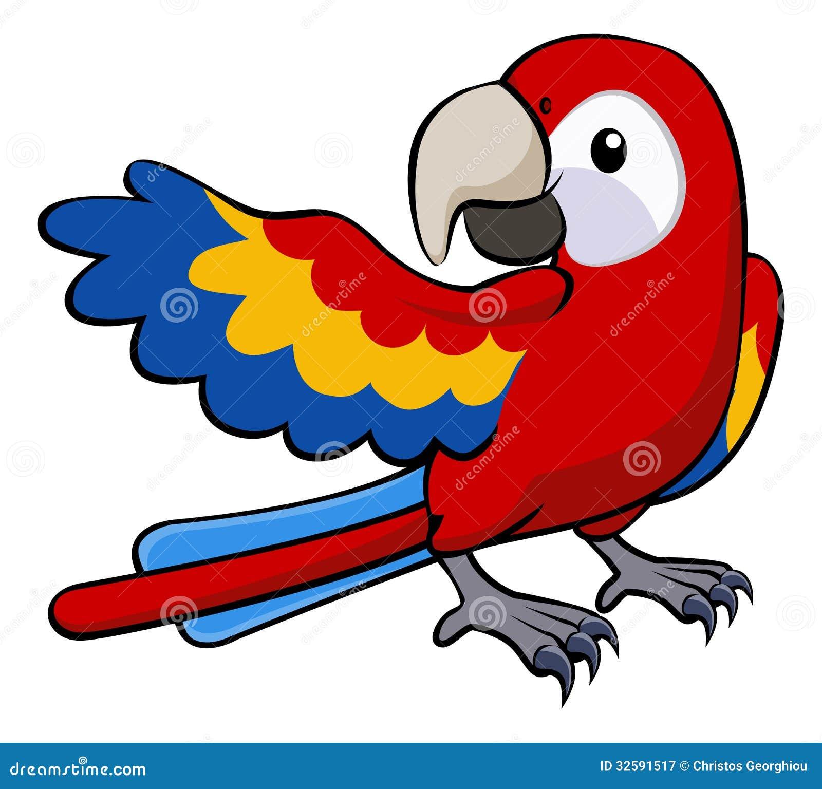 Rainforest Birds Flying Red parrot illustratio...