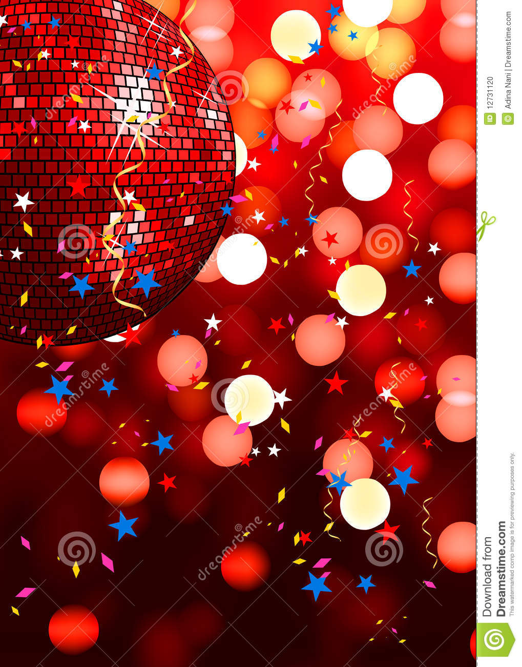 Red party disco background with glowing lights and confetti.
