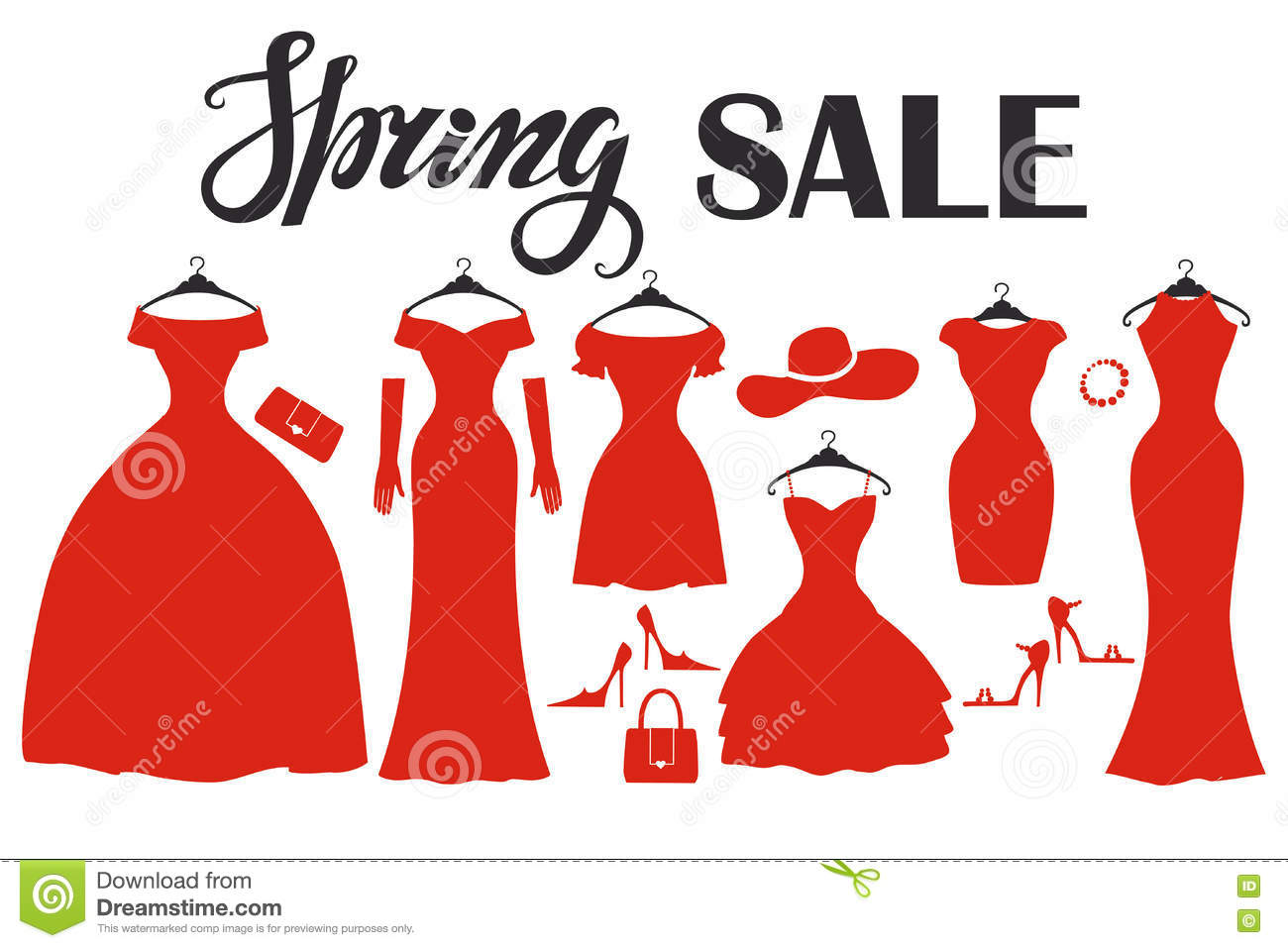 73b4906da27 Red Party Dresses Silhouette.Fashion Sale.Spring Stock Vector ...