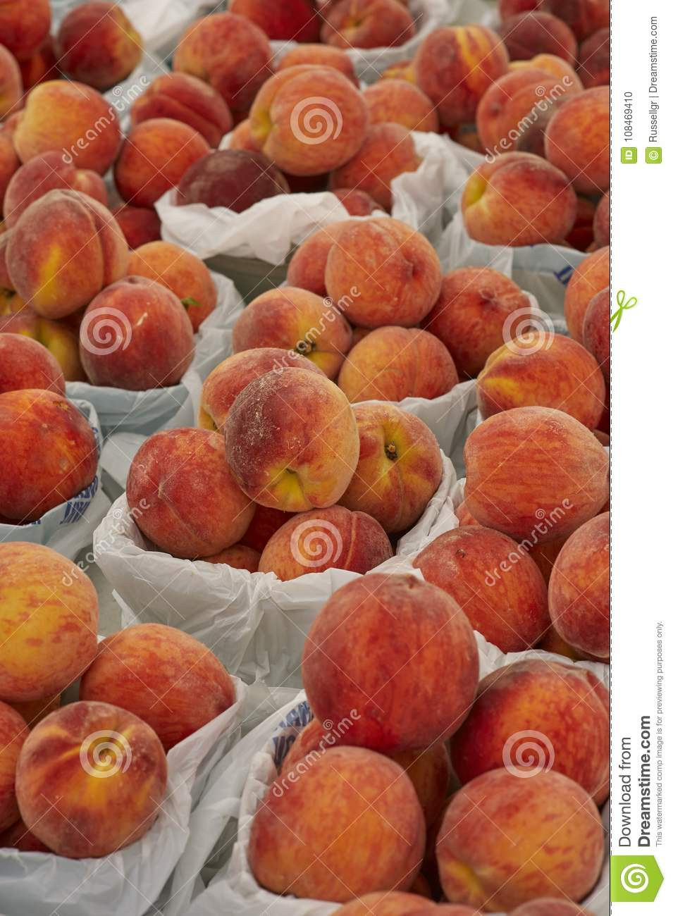 Red Peaches For Sale At Outdoor Door Market Stock Photo Image Of