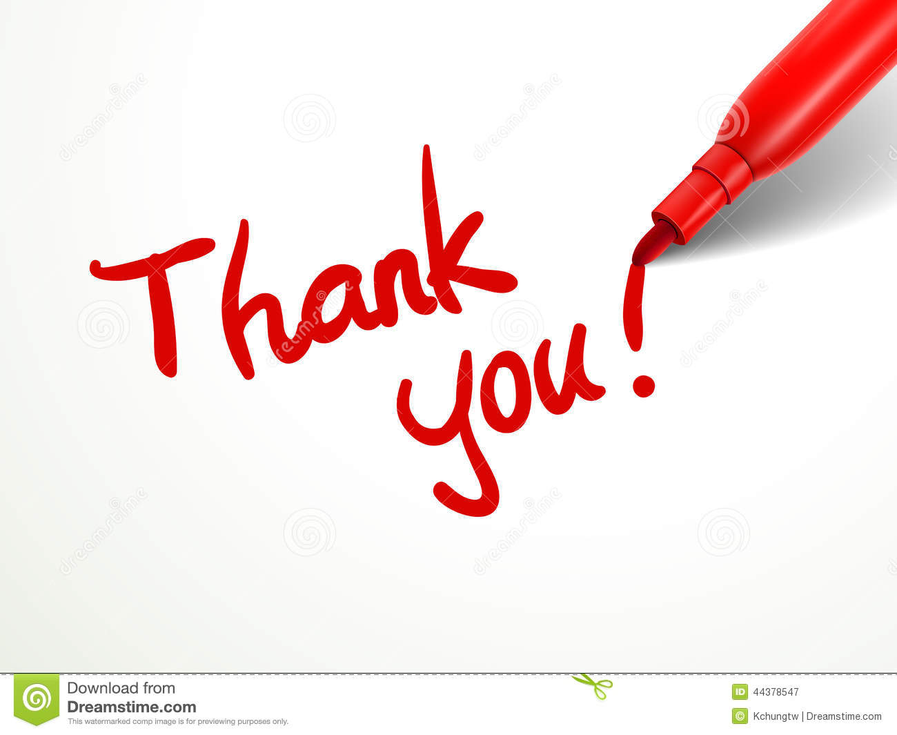 Red Pen Writing Thank You Over Document Stock Vector