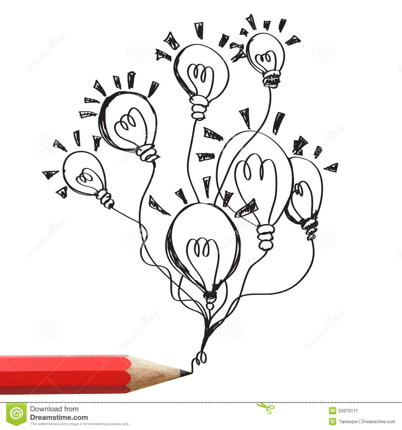 Red Pencil Drawing Light Bulbs Idea Concept. Stock Image - Image ...