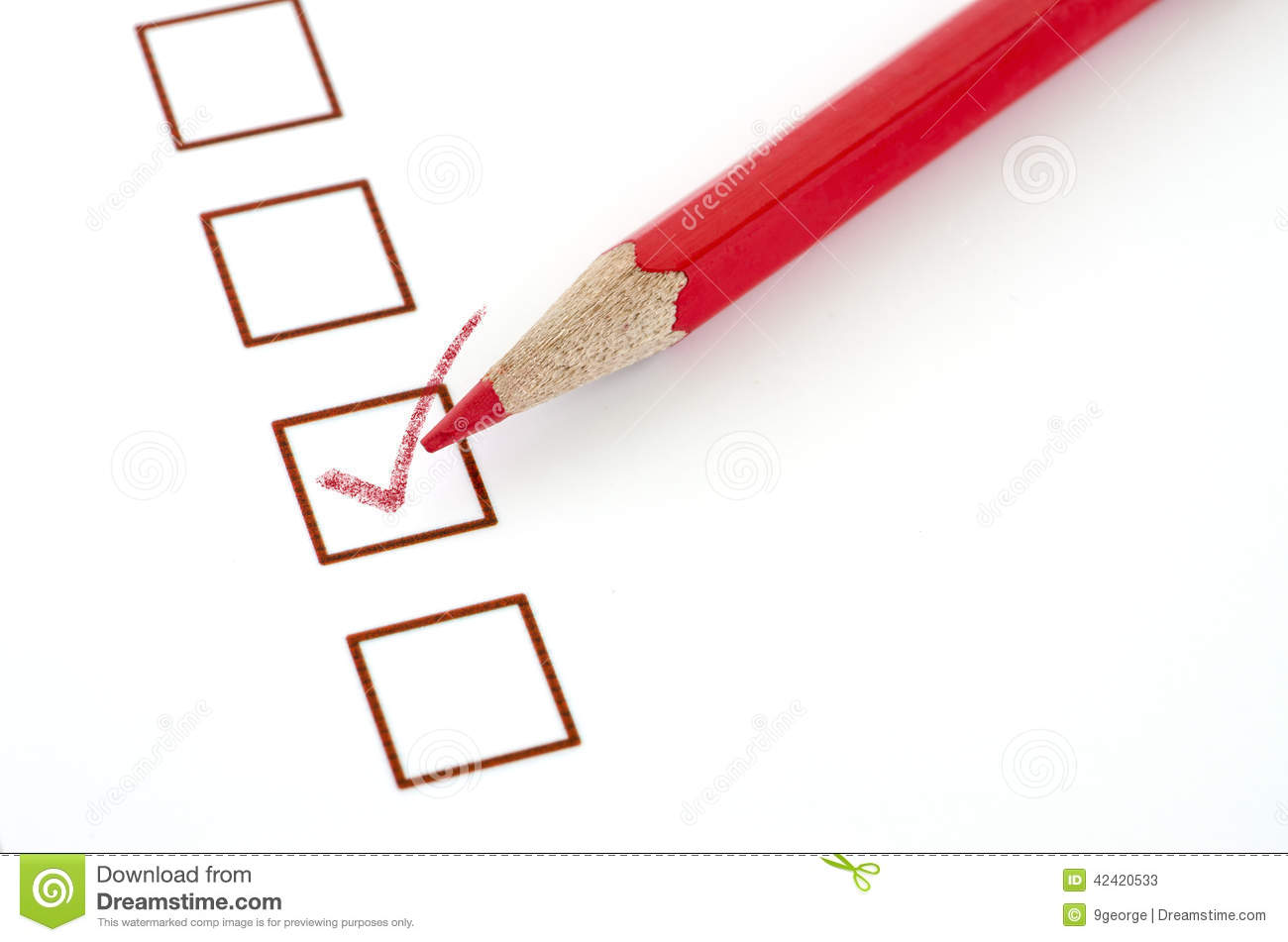 red pencil and questionnaire on white paper stock image image of