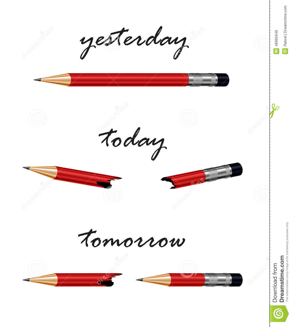 Red Pencil With Words Tomorrow, Today And Yesterday. Stock ...