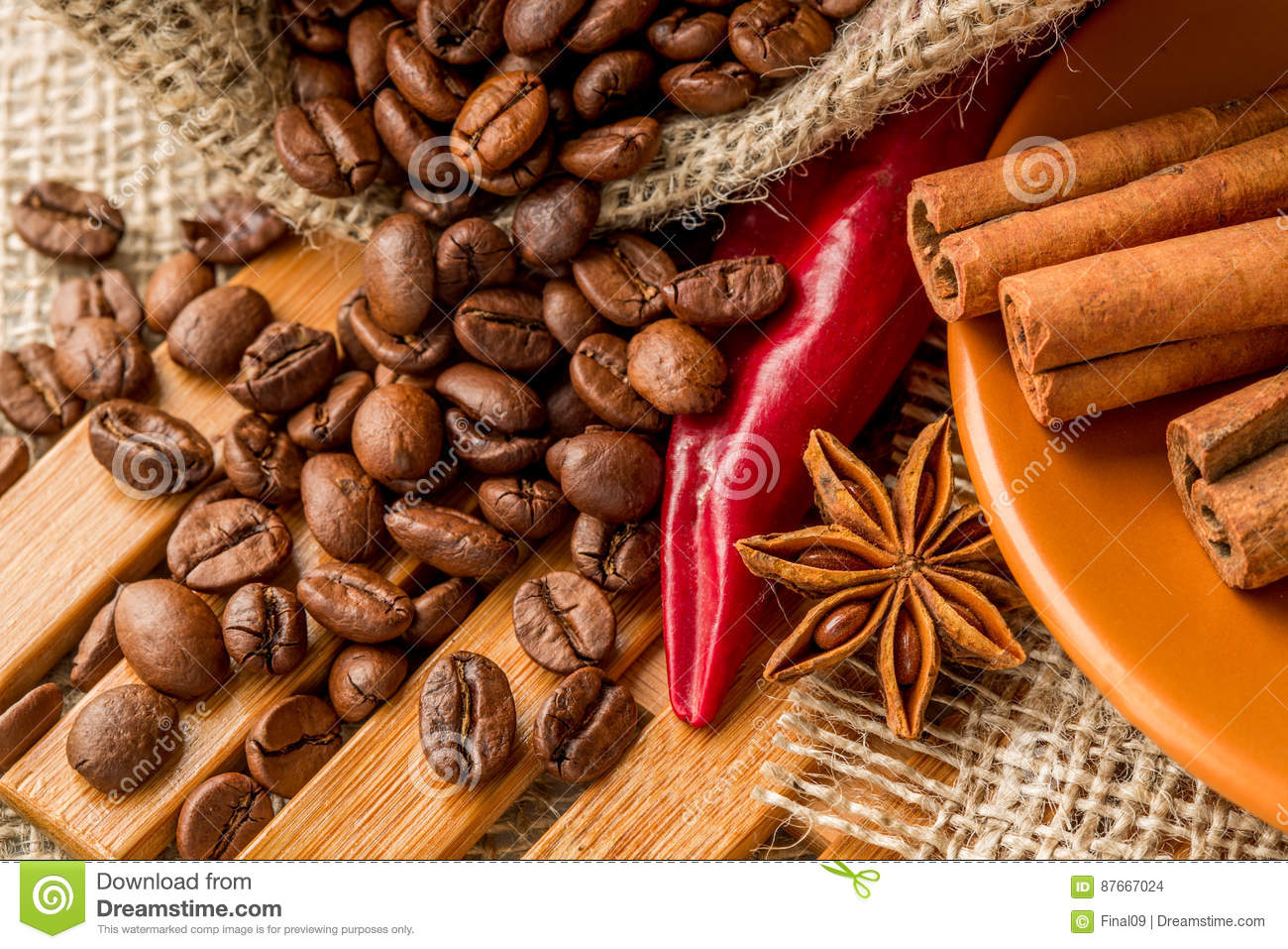 Red pepper, coffee beans, and star anise
