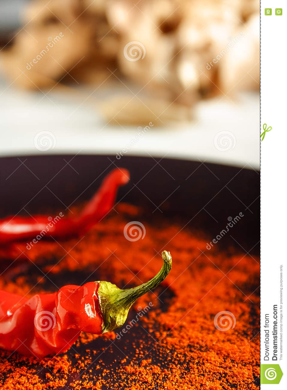 Red pepper with ground paprika.