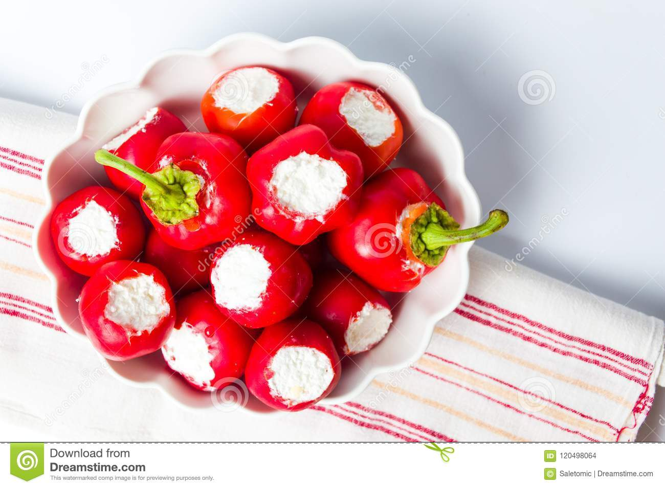 Red peppers stuffed with cheese