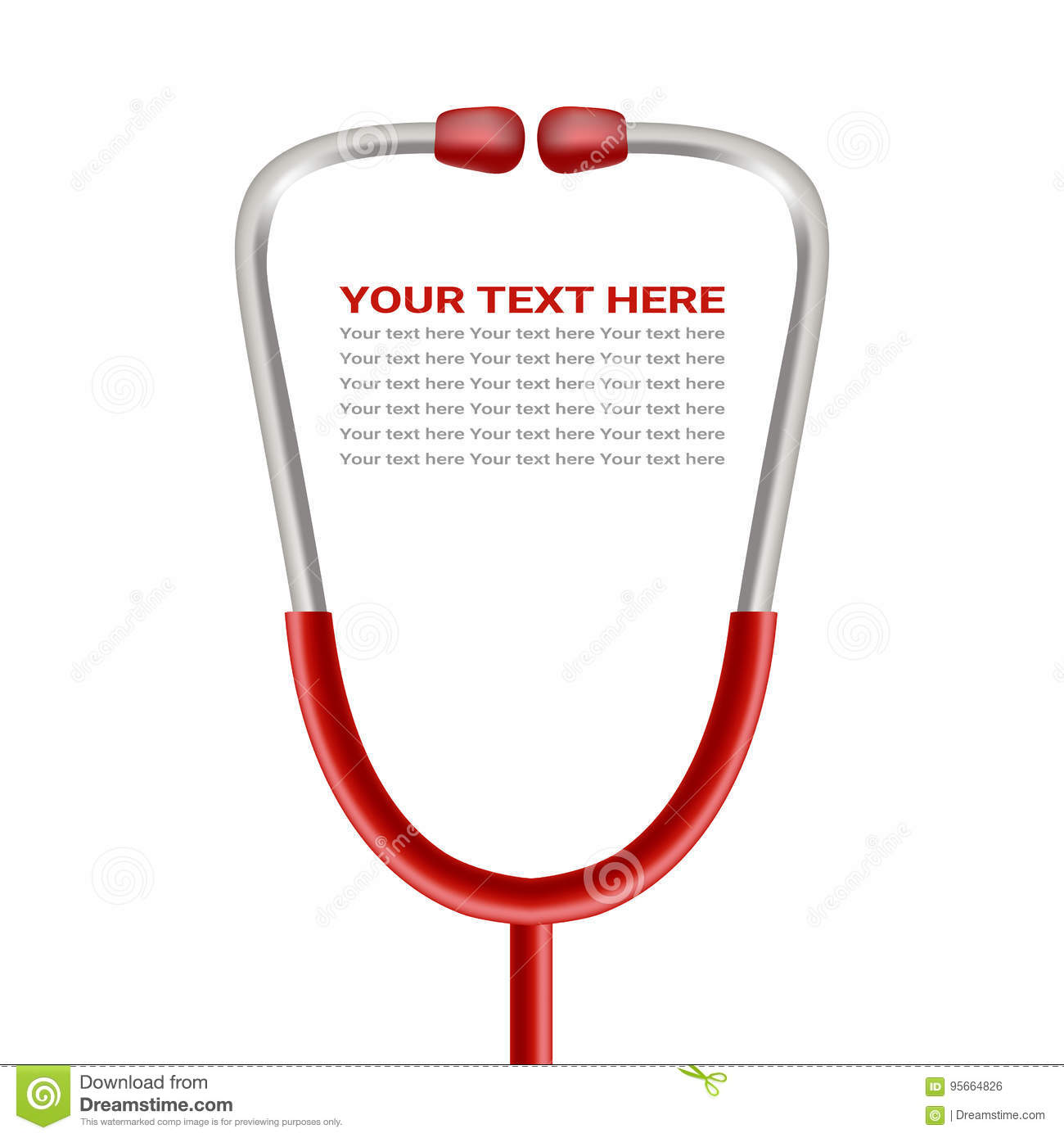 Red Phonendoscope, Stethoscope Isolated On A White Background. Realistic Vector Illustration.