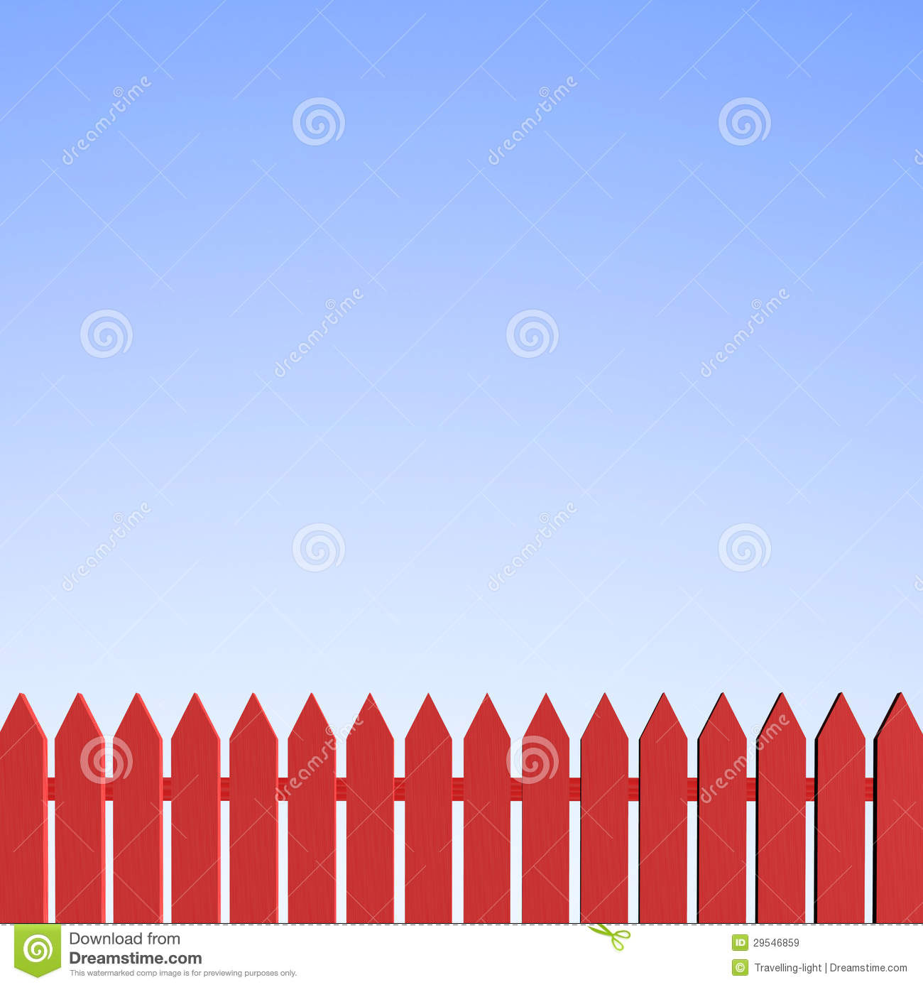 Red Picket Fence And Clear Blue Sky Royalty Free Stock Images - Image ...