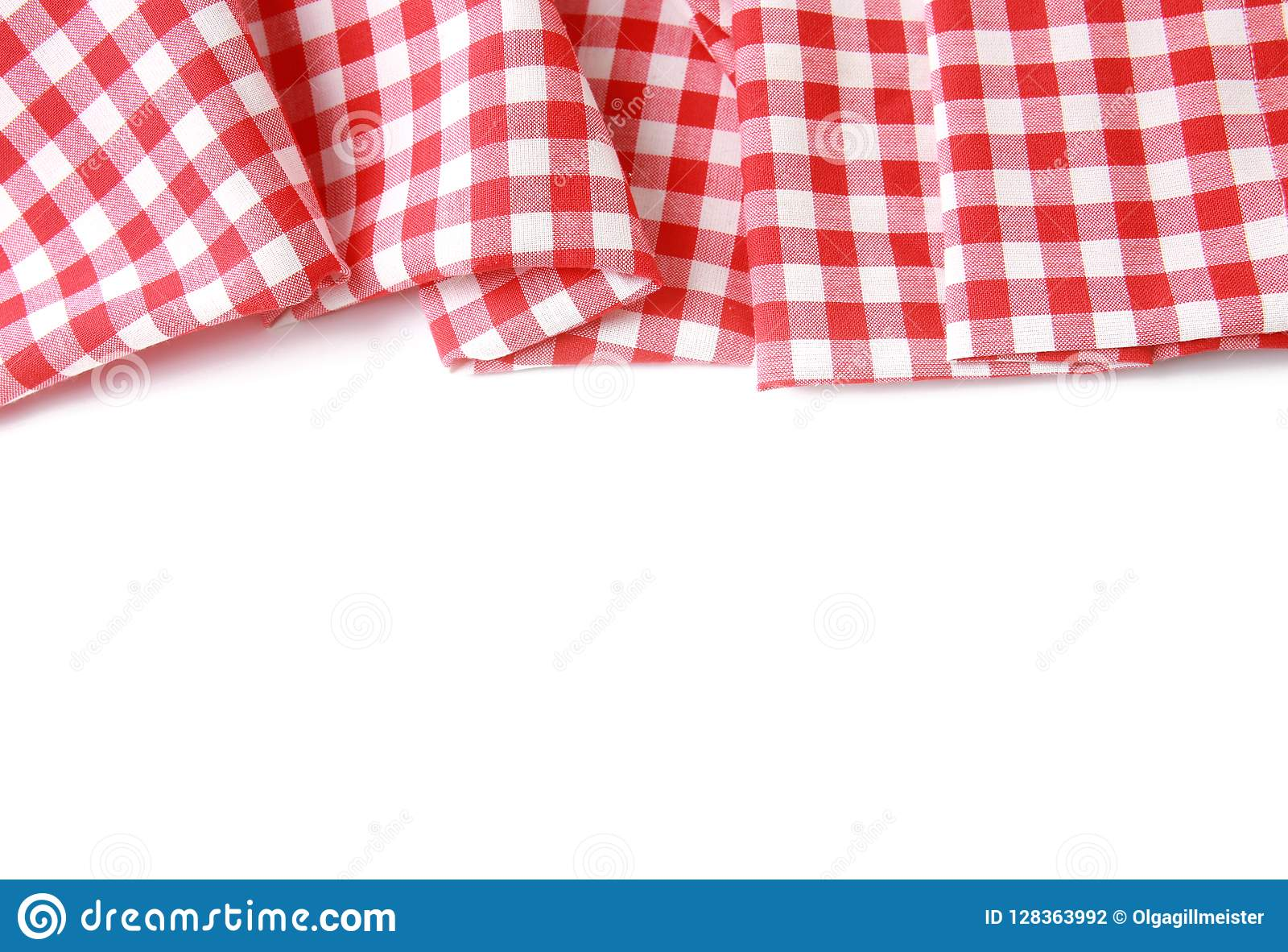 Red Picnic Checkered Cloth Border Isolated. Stock Photo ...