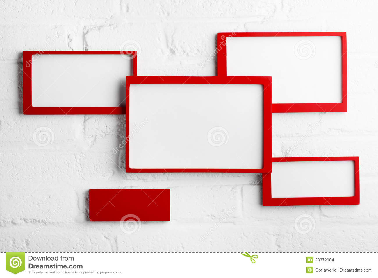 Red picture frame on white wall stock images image 28372984 - White wall picture frames ...