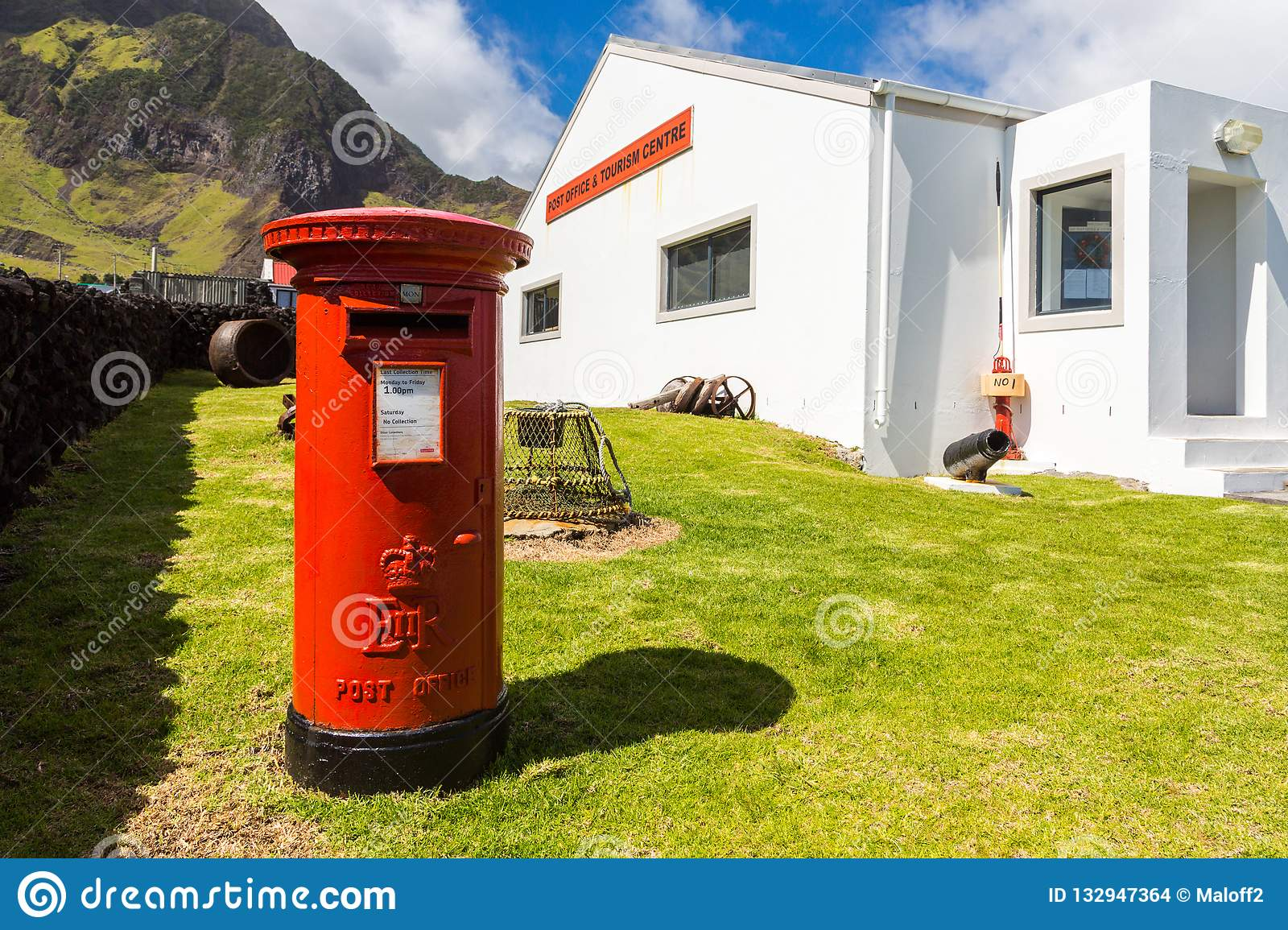 Red pillar postbox, free-standing post box, Post Office and Tourism Centre, Edinburgh of the Seven Seas, Tristan da Cunha island.
