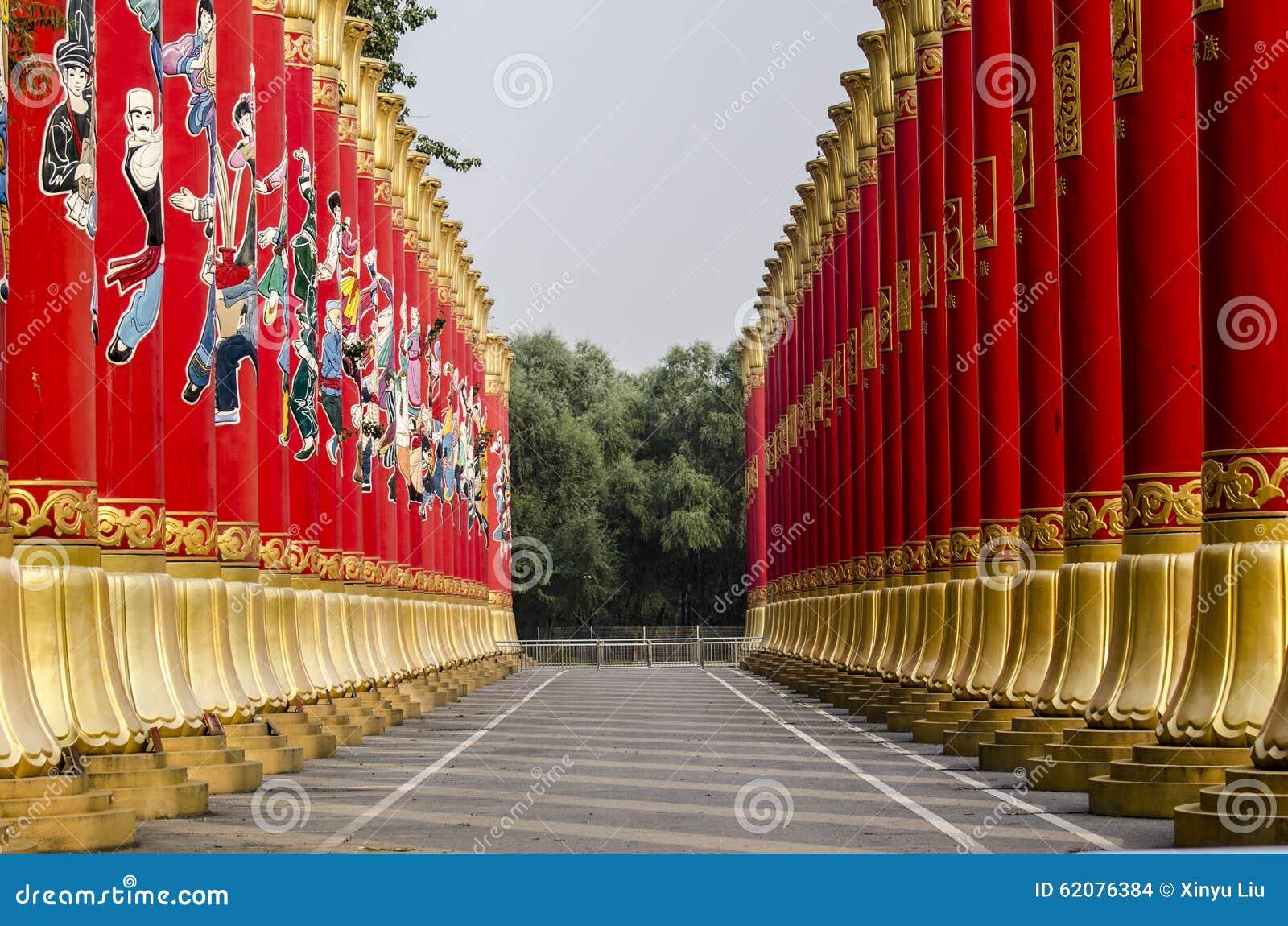 56 Red Pillars in Beijing of China