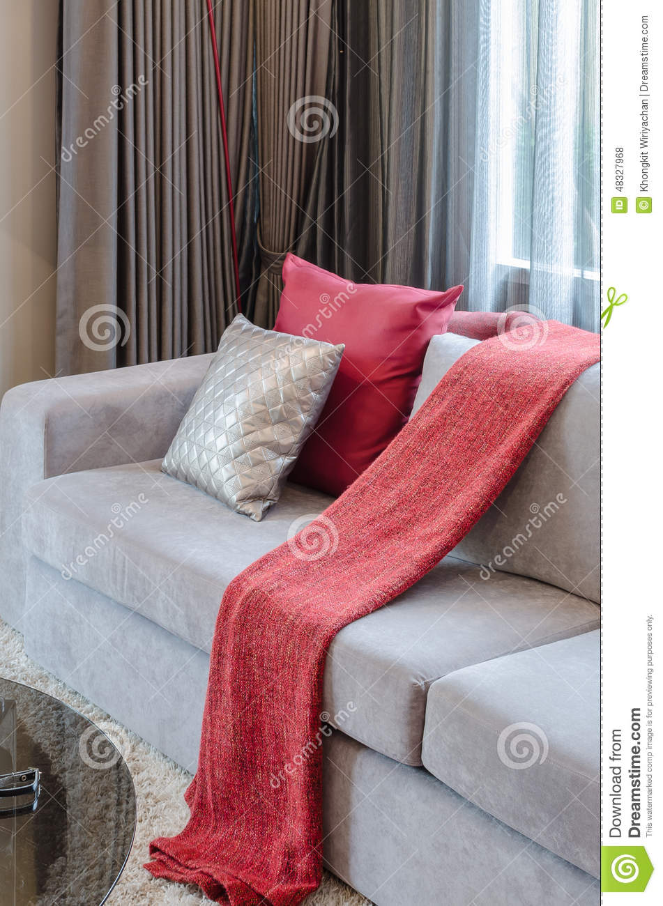 Red pillow on grey sofa in living room stock photo image Red and grey sofa