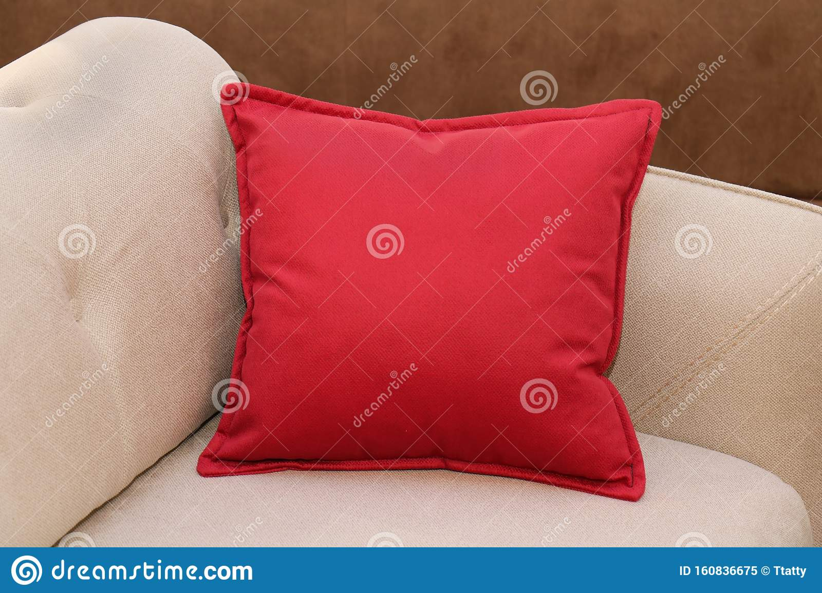 Red Pillow On Sofa Stock Image Image Of Decor Sofa 160836675