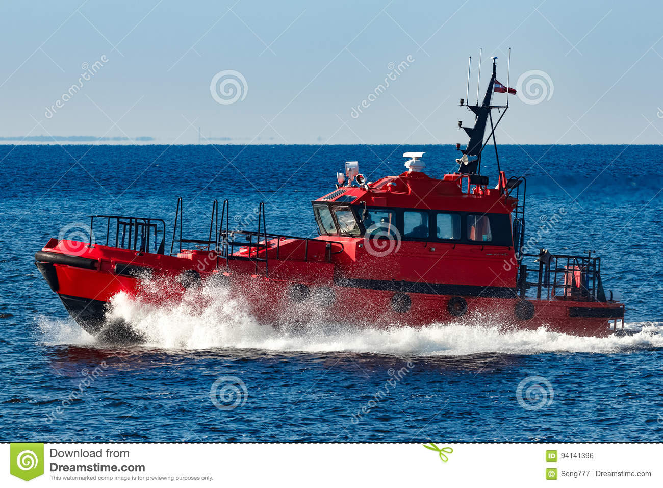 Red pilot boat stock photo  Image of marine, service - 94141396