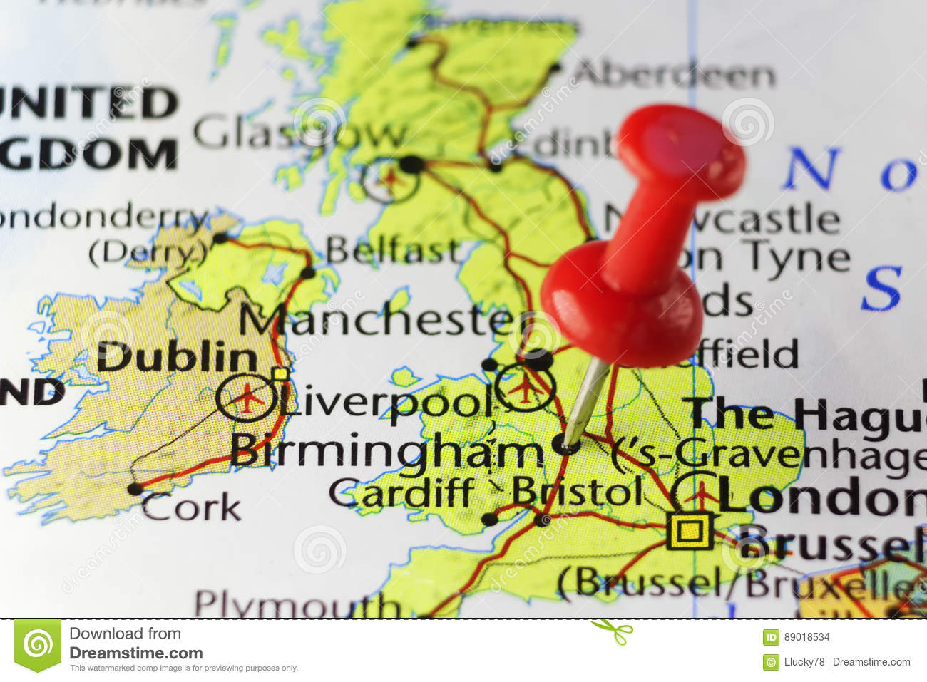 Map Of England Birmingham.Red Pin On Birmingham England Uk Stock Photo Image Of Pushpin