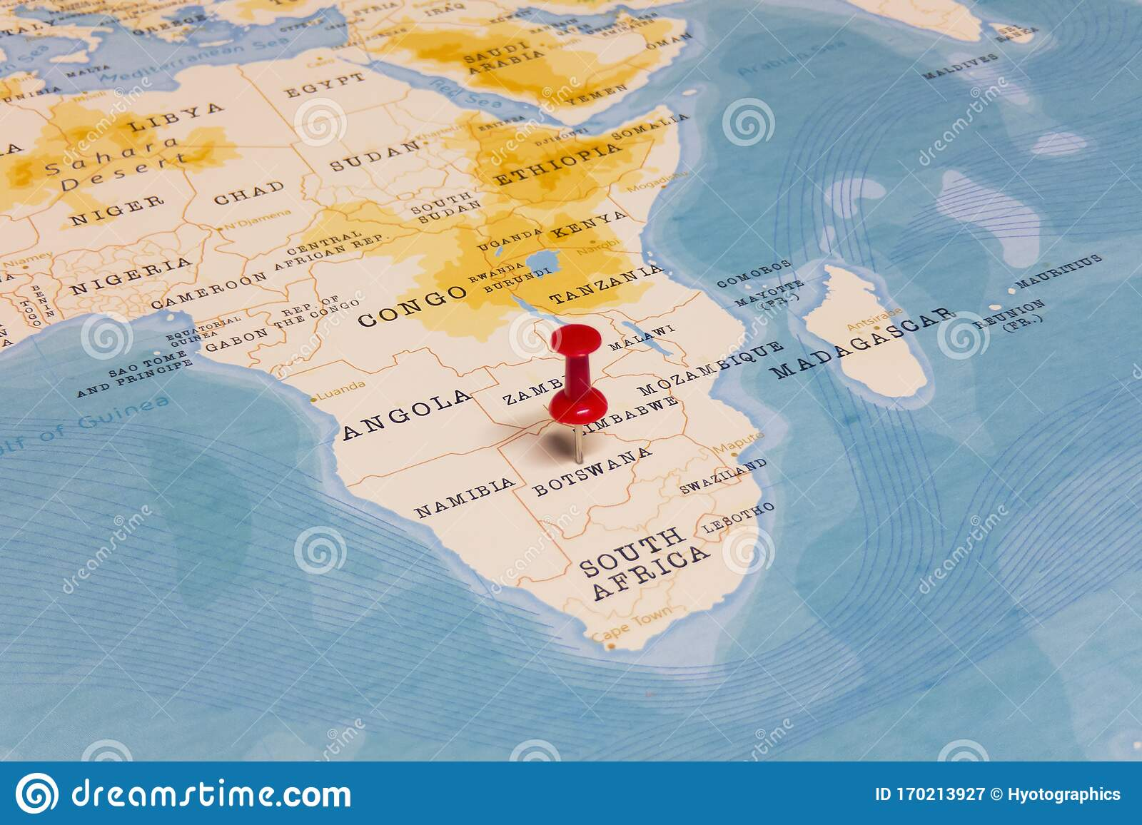 Picture of: A Red Pin On Botswana Of The World Map Stock Image Image Of Language Gaborone 170213927