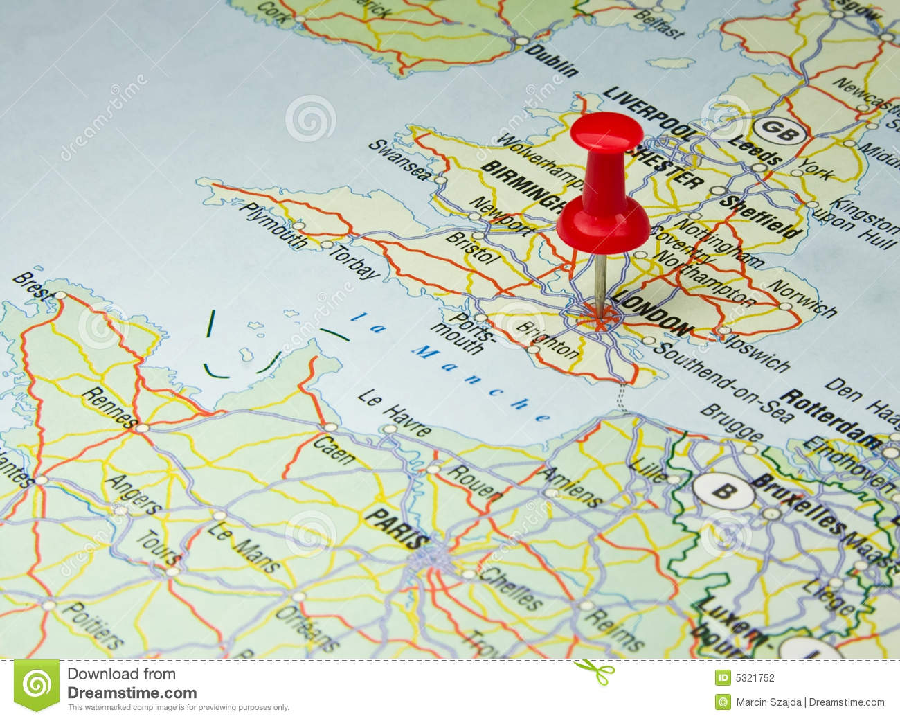 Karte London City.Red Pin On London Map Stock Photo Image Of London Vacation 5321752