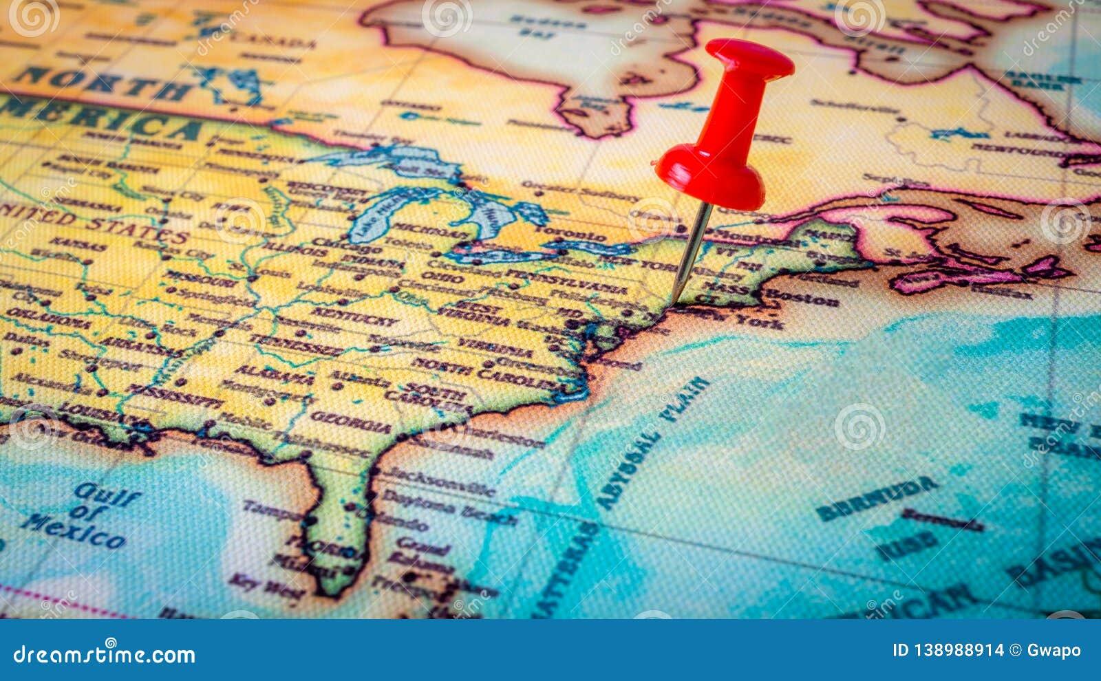 Red pin on New York stock photo. Image of thumbtack - 138988914