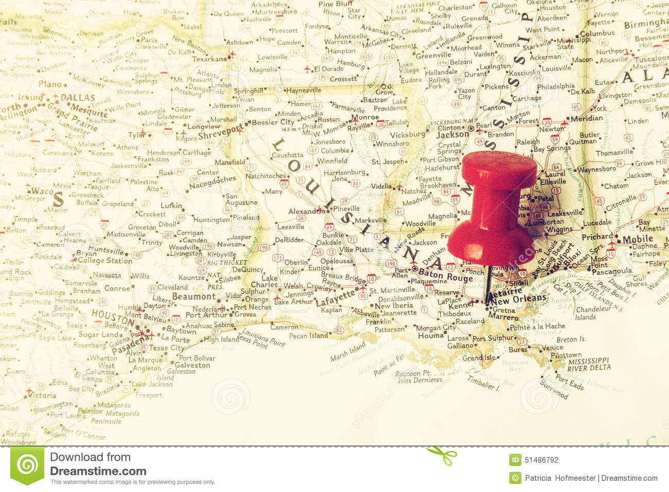 Red Pin On New Orleans Stock Photo Image - Map usa new orleans