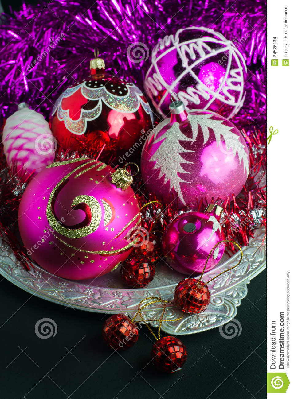Pink and black christmas tree decorations - Red And Pink Christmas Decorations