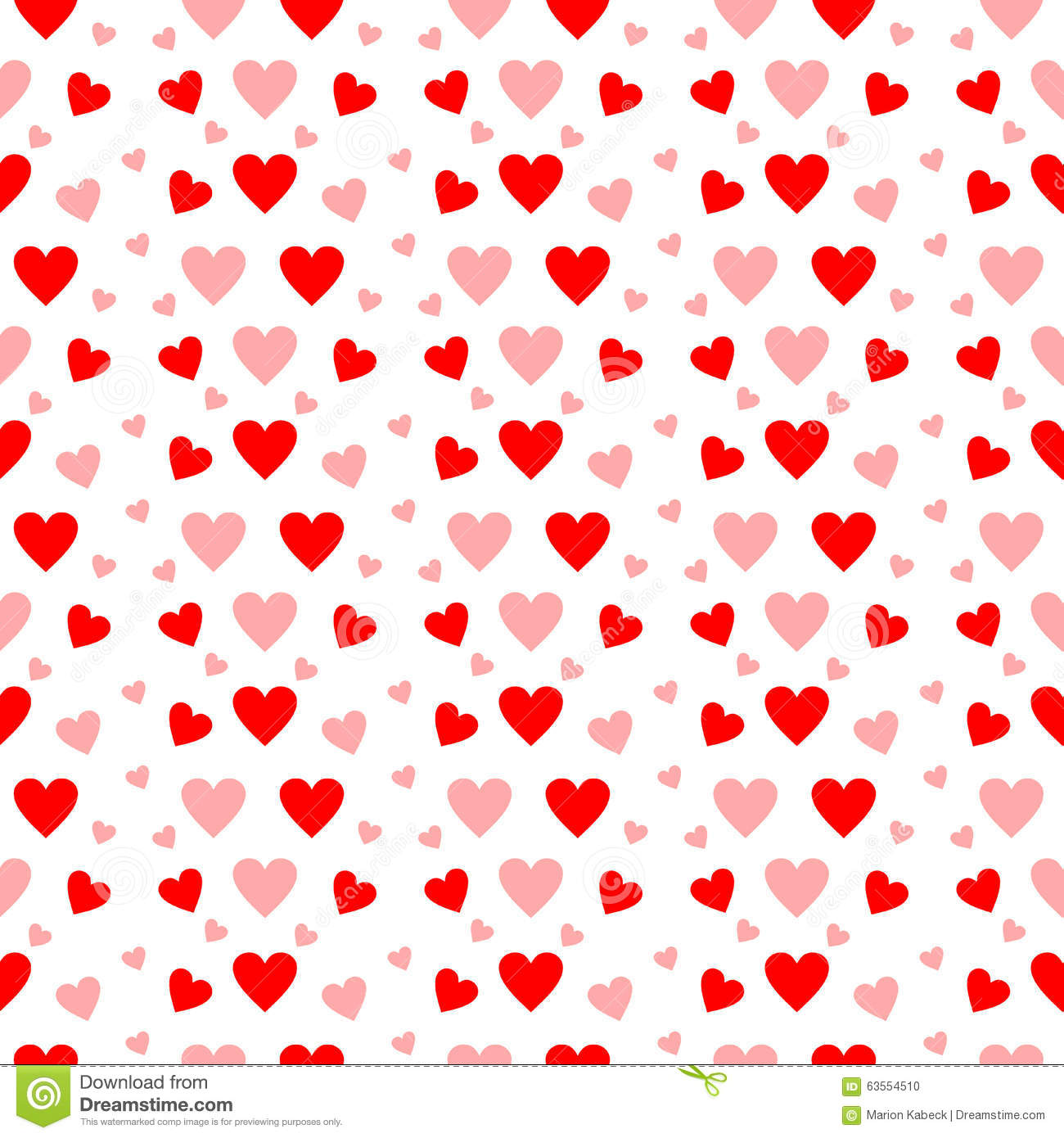 Red And Pink Hearts In Seamless Pattern On White Stock