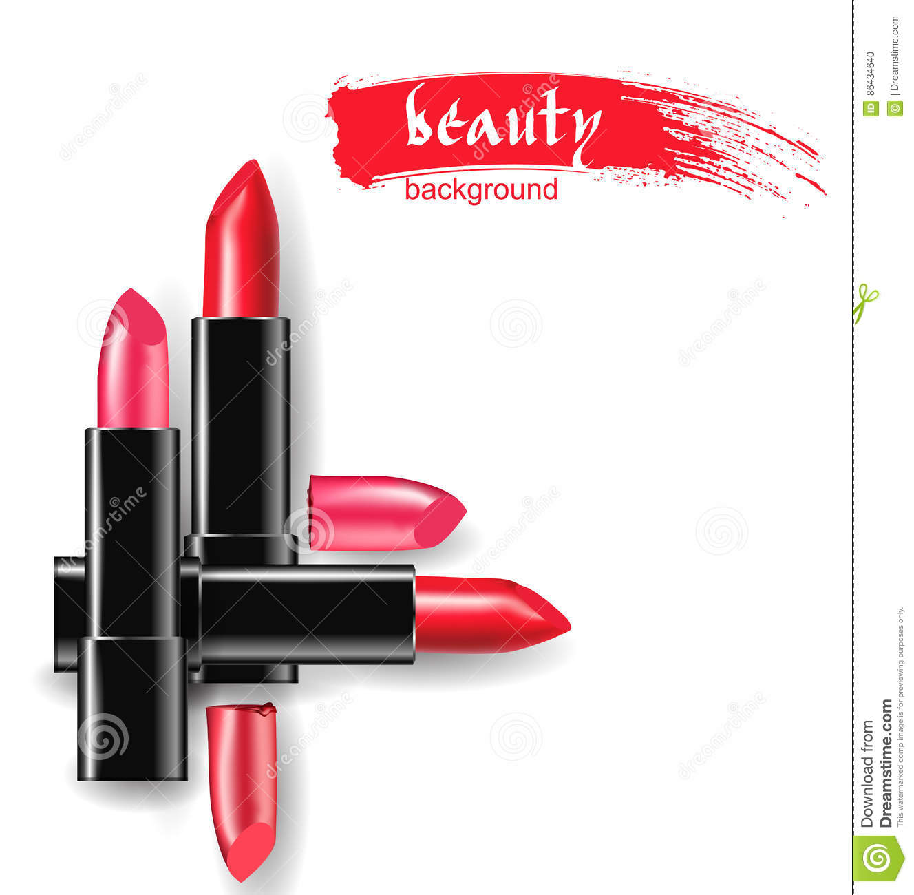 red and pink lipstick beauty and cosmetics background use for advertising flyer banner. Black Bedroom Furniture Sets. Home Design Ideas