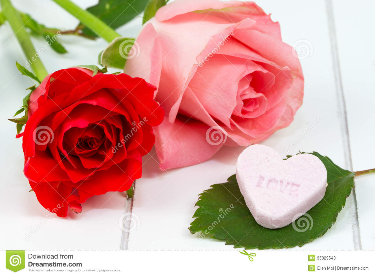 Red And Pink Rose And Candy Heart Stock Image Image Of Idyllic