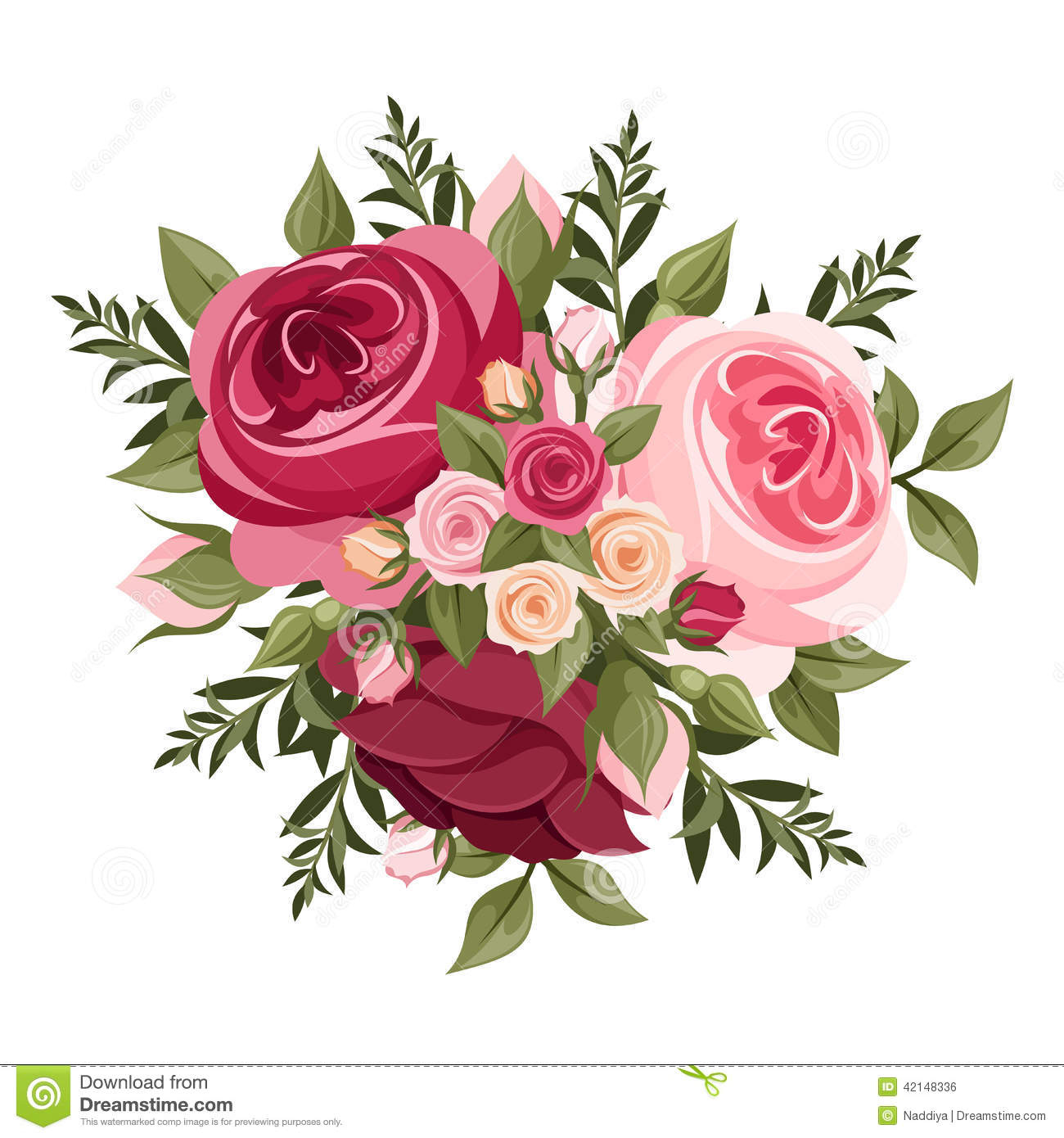 Red And Pink Roses Vector Illustration Stock Vector