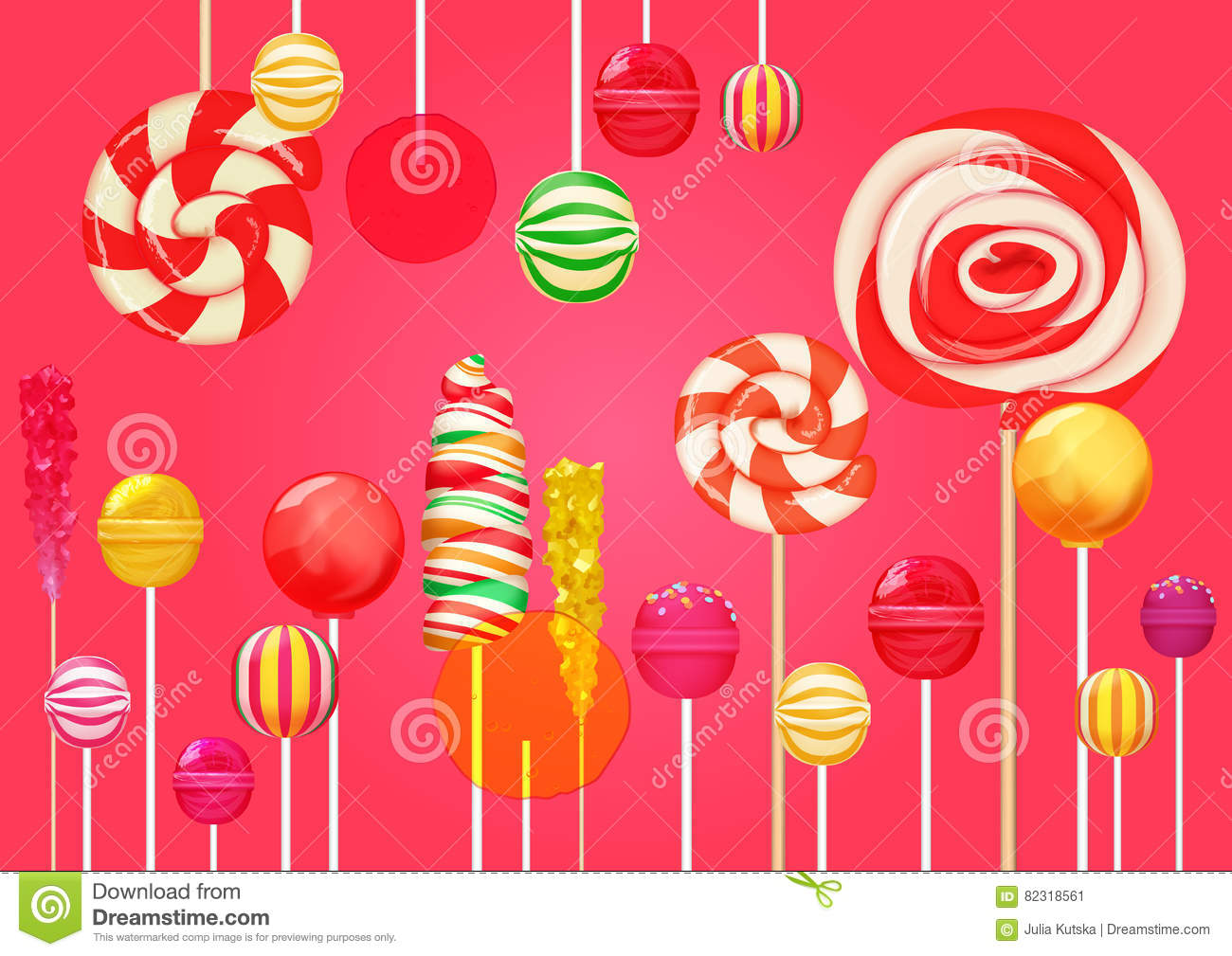 red pink sugar background with bright colorful lollipops