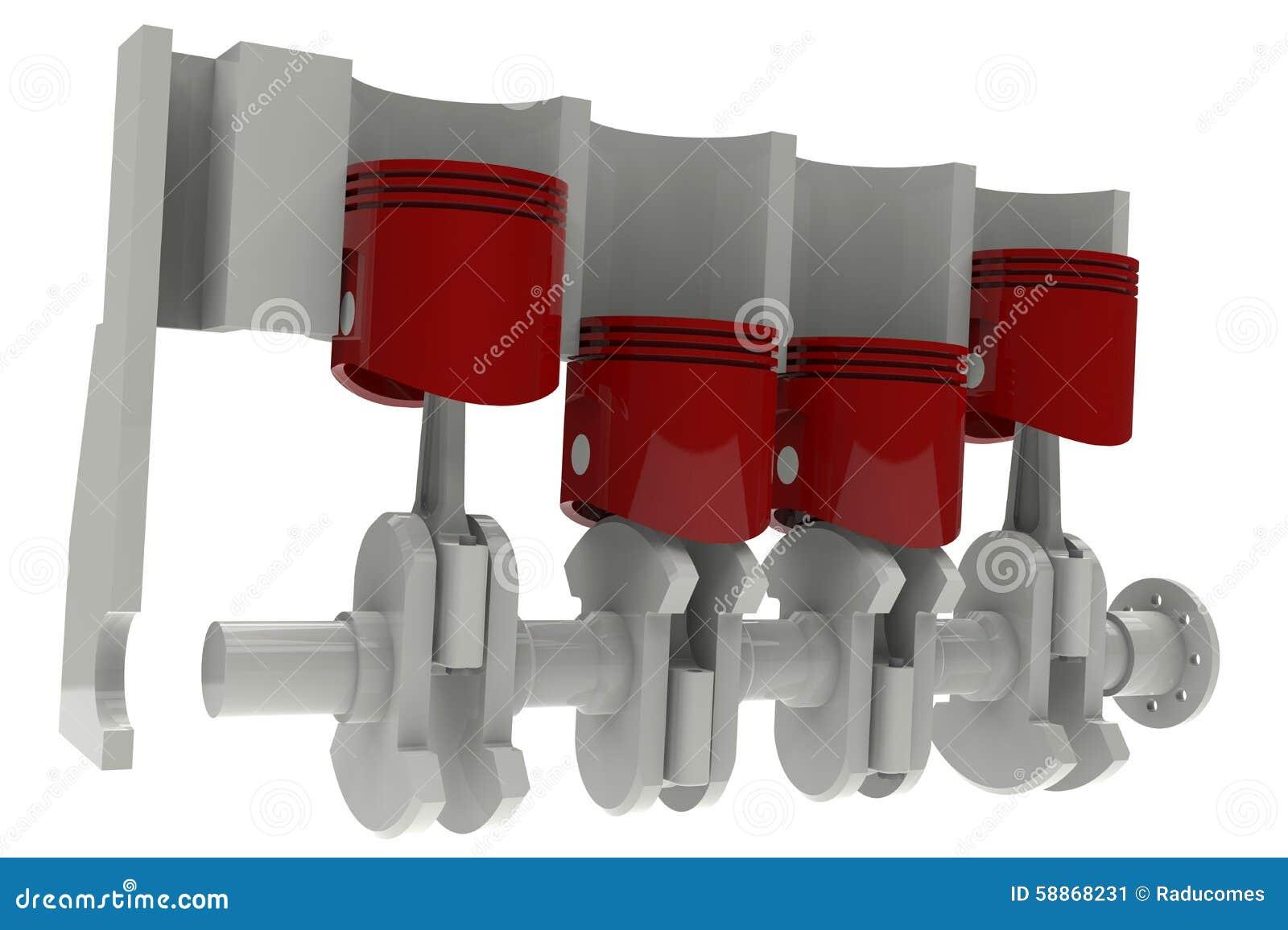 Red Pistons And Grey Crankshaft Stock Illustration Of Engine Diagram Schedule