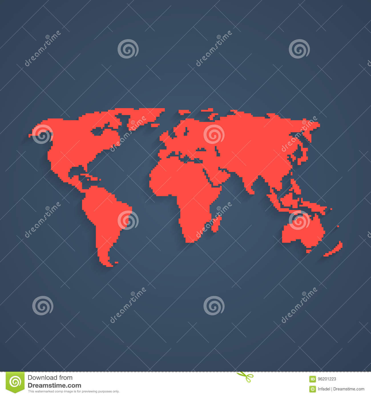 Red pixel art world map stock vector illustration of computer download comp gumiabroncs Image collections