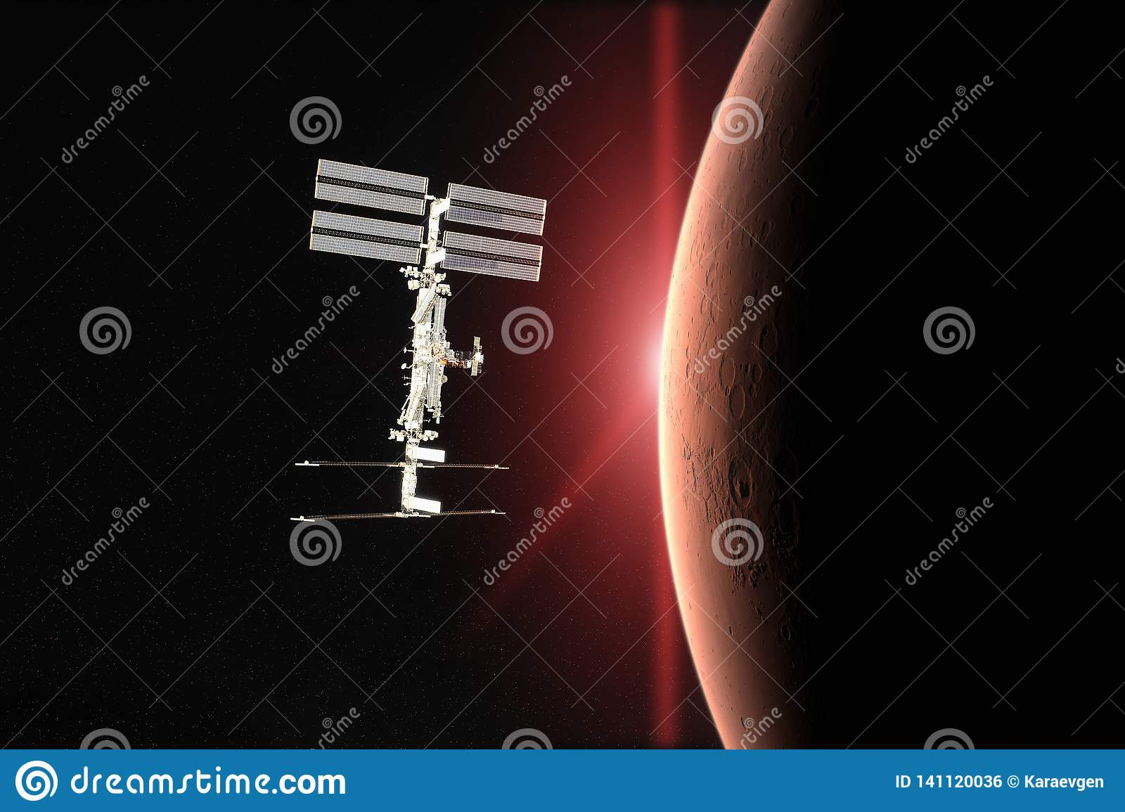 Red planet Mars. Spacecraft launch into space. Elements of this image furnished by NASA