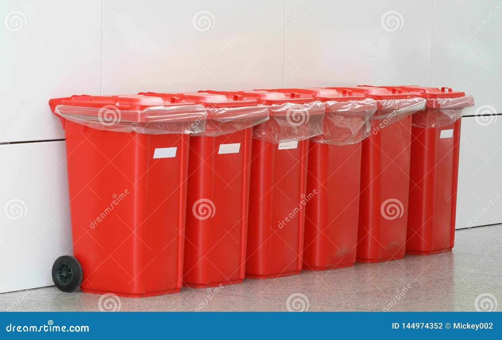 Red plastic bins