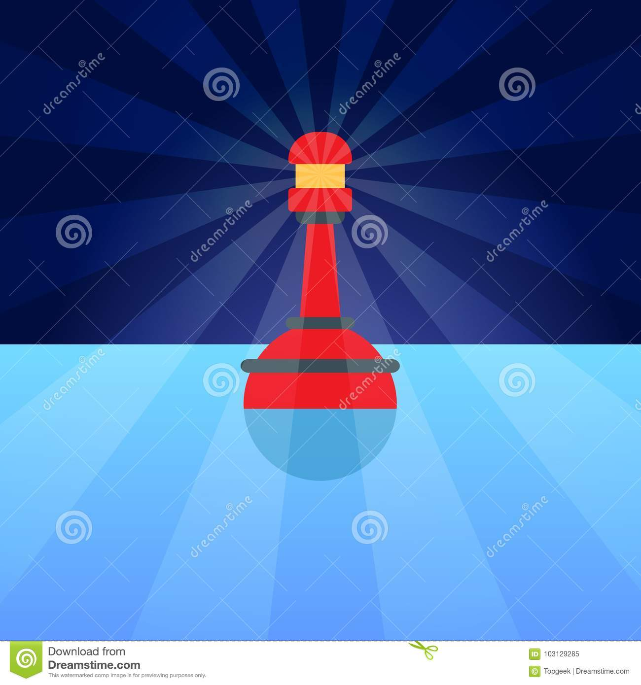 Red Plastic Buoy With Lighter In Blue Water Stock Vector ...