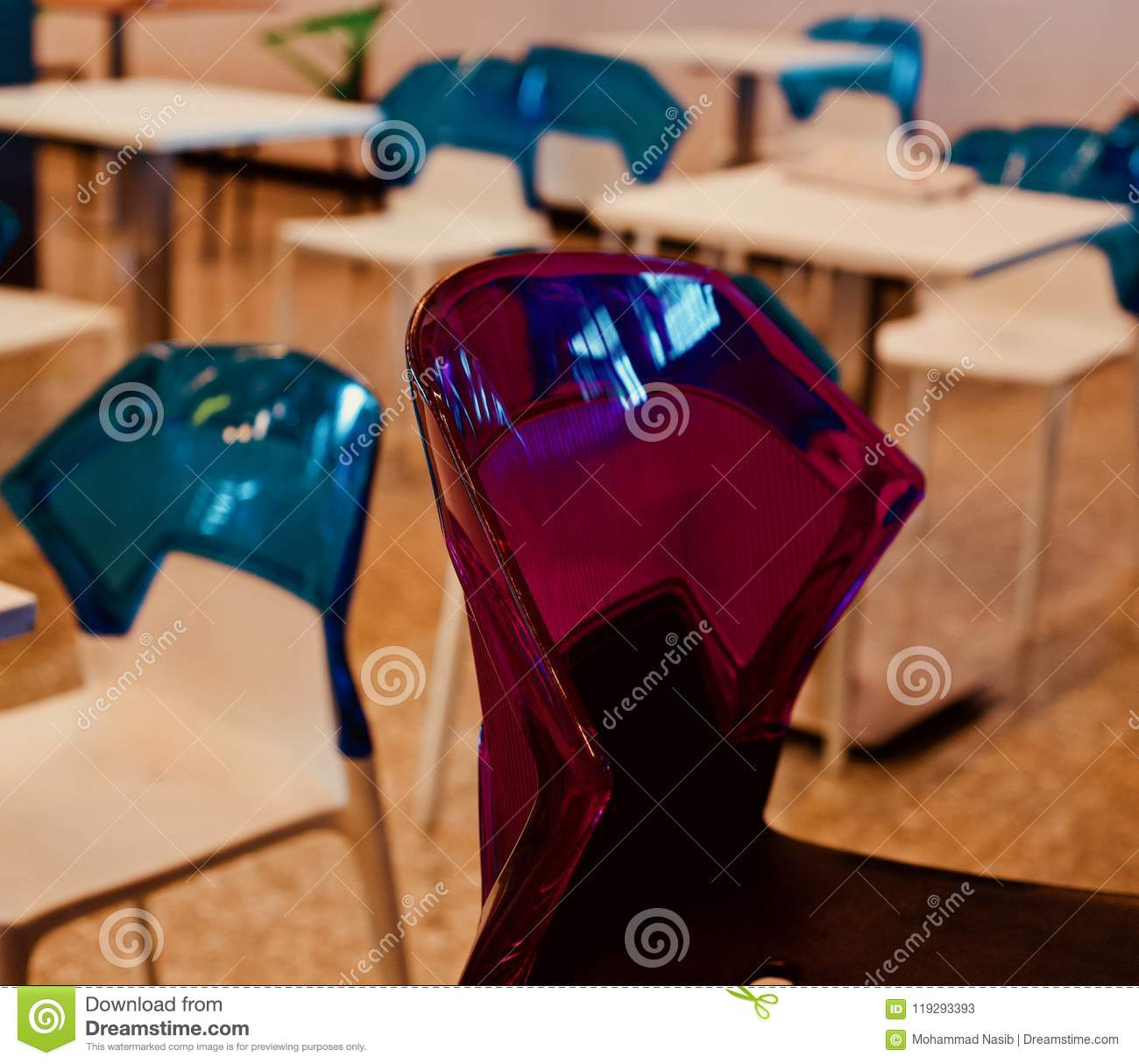 Download Beautiful Red Coloured Plastic Chair Of A Food Court Unique Photo Stock Image - Image of business, plastic: 119293393