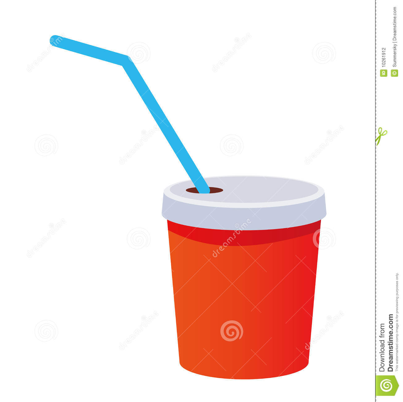 Red plastic cup with a straw