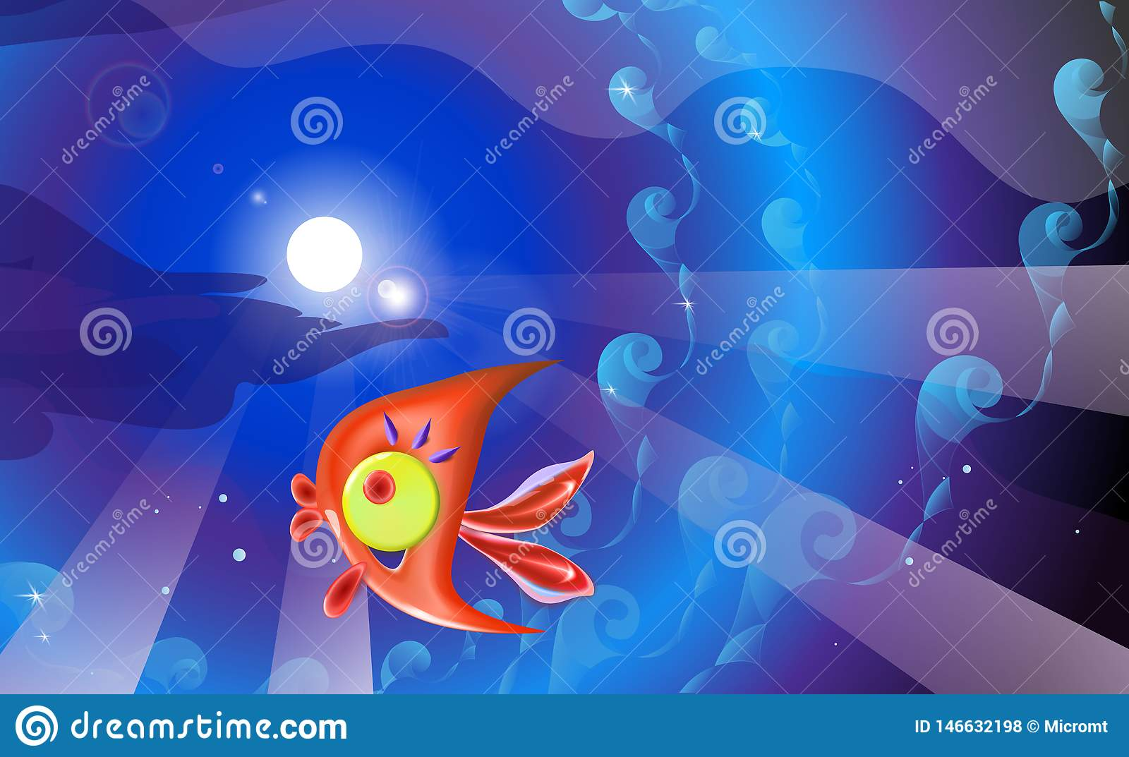 Red plastic toy fish and background in blue tones. Sea coral reef vector illustration of little cartoon funny illustration for