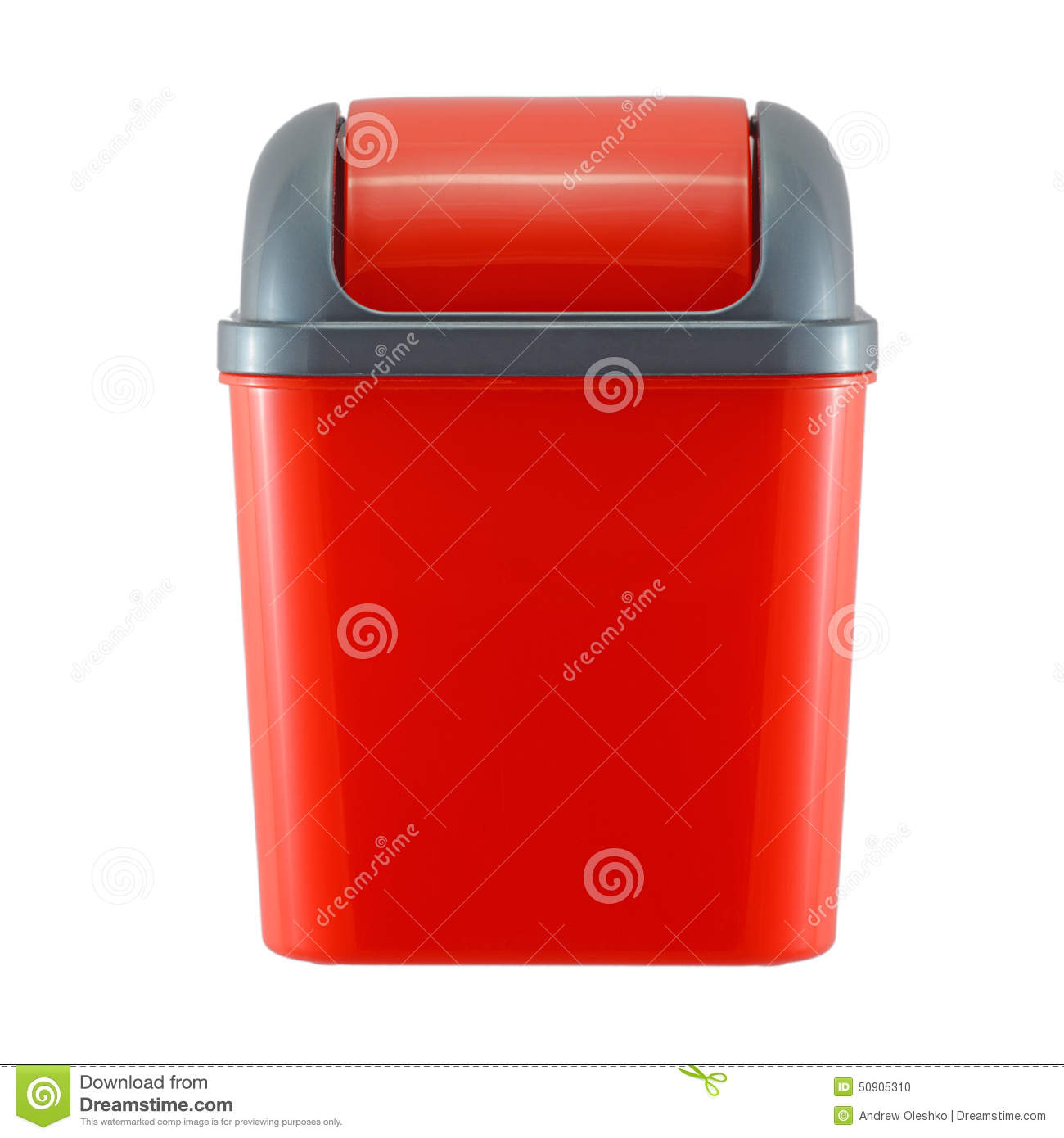 Red Plastic Trash Can On White Stock Photo - Image of ...
