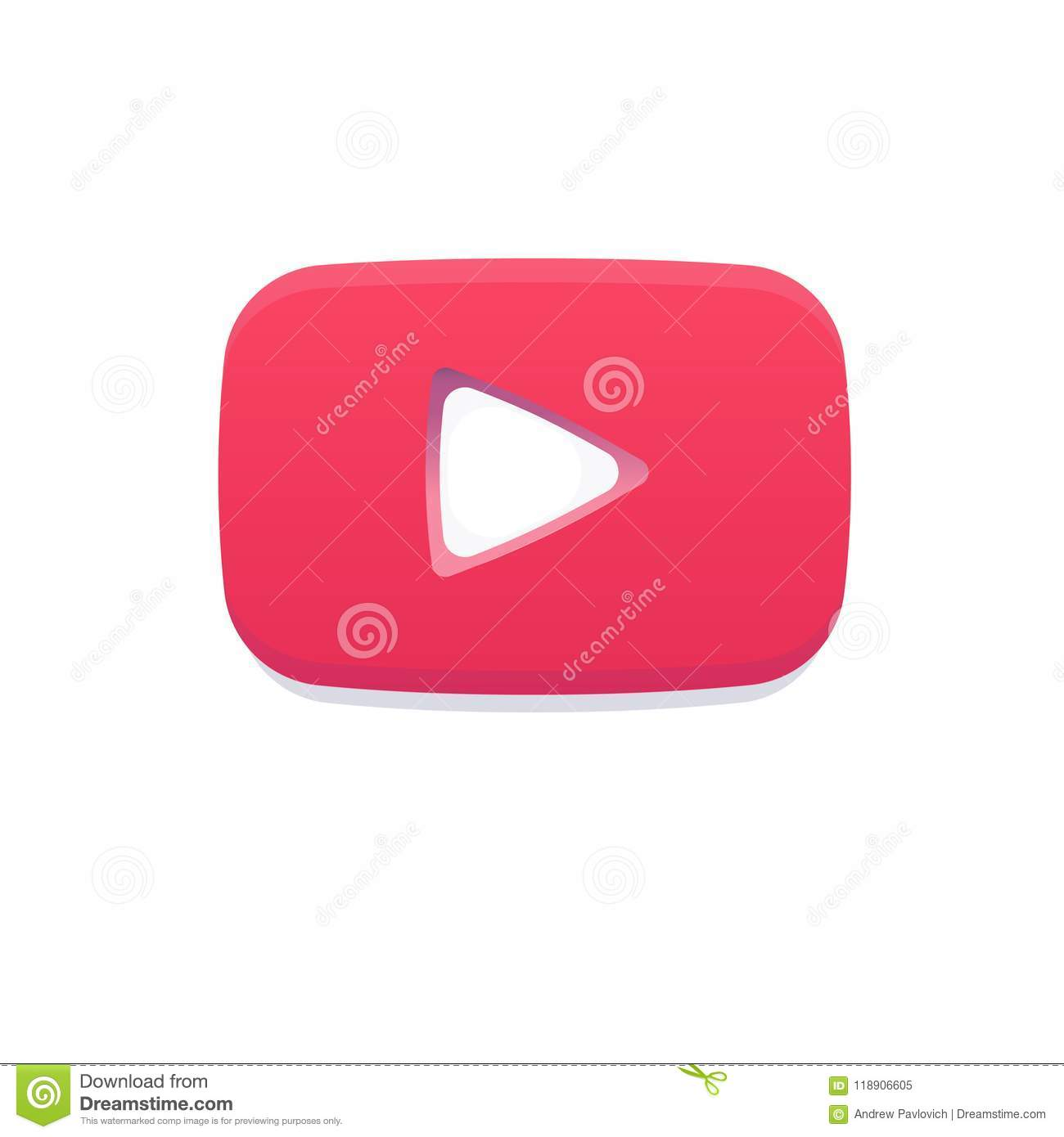 Red Play Flat Logo Youtube Notification Icon Like Social Video